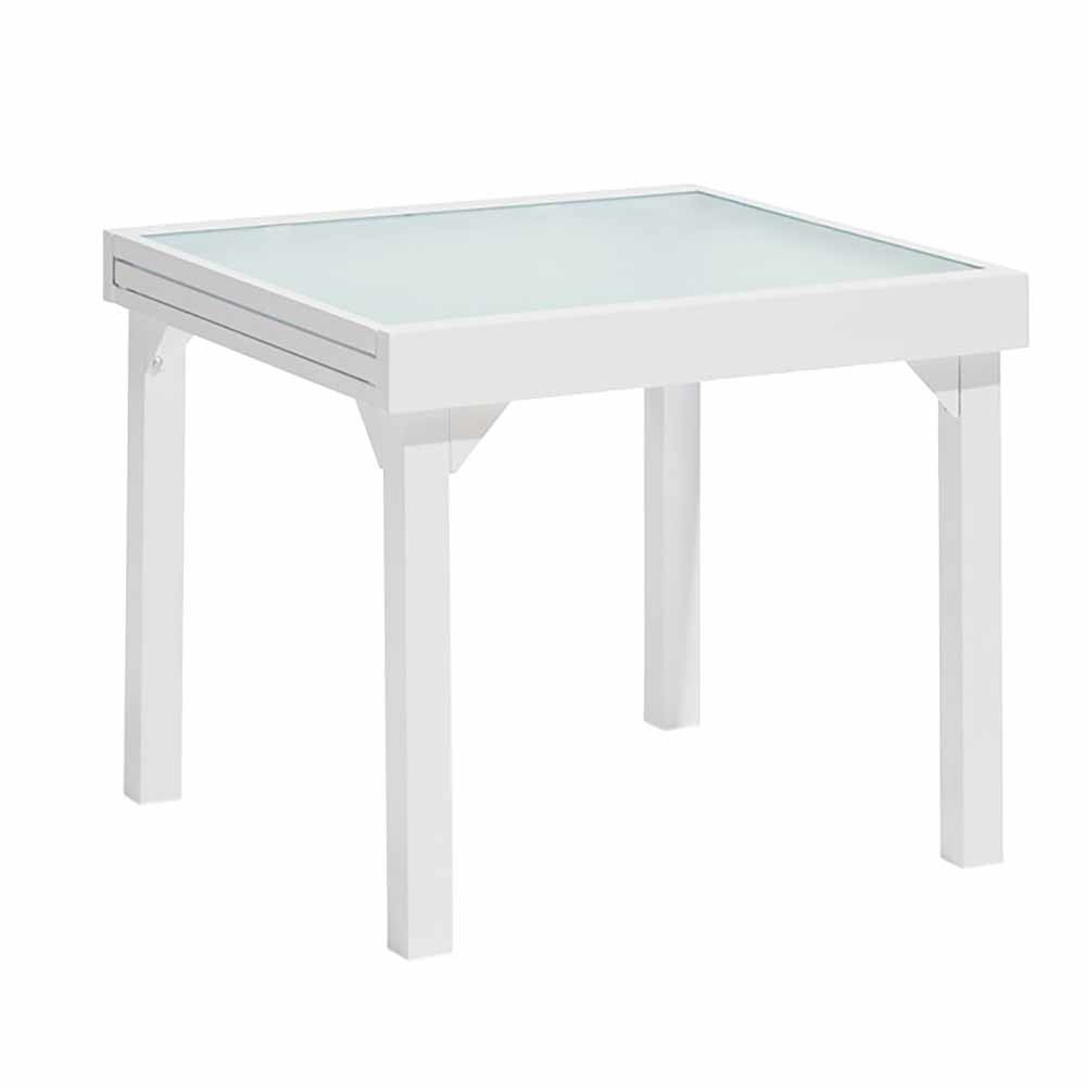 Table De Jardin Extensible Oslow 4 À 8 Personnes Blanc Gris destiné Table De Jardin Carrée 8 Personnes