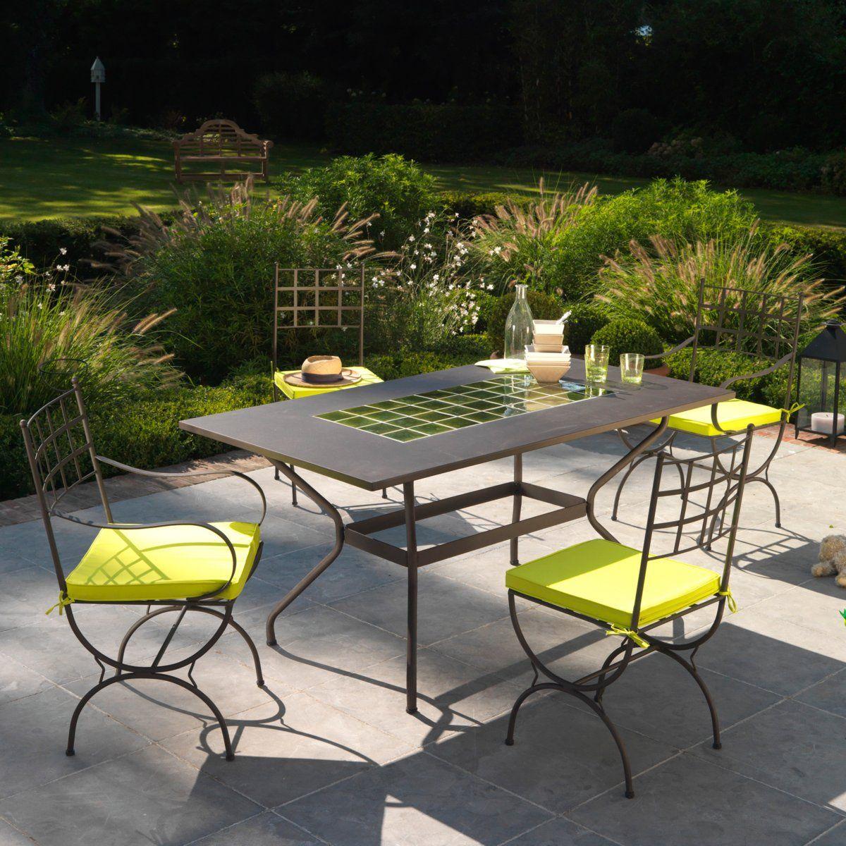 Table De Jardin Fer Forgé Et Céramique | Balcon Extérieur En ... pour Table Jardin Ceramique