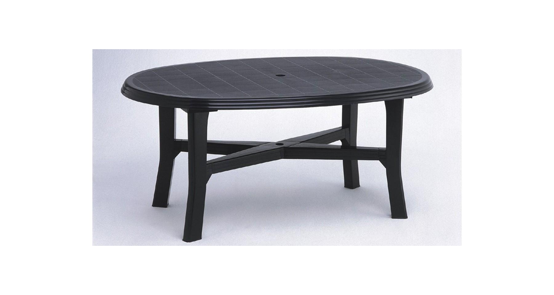Table De Jardin Gris Anthracite Ovale En Résine Plastique 6 0 8 Personnes  Load encequiconcerne Table Jardin 6 Personnes