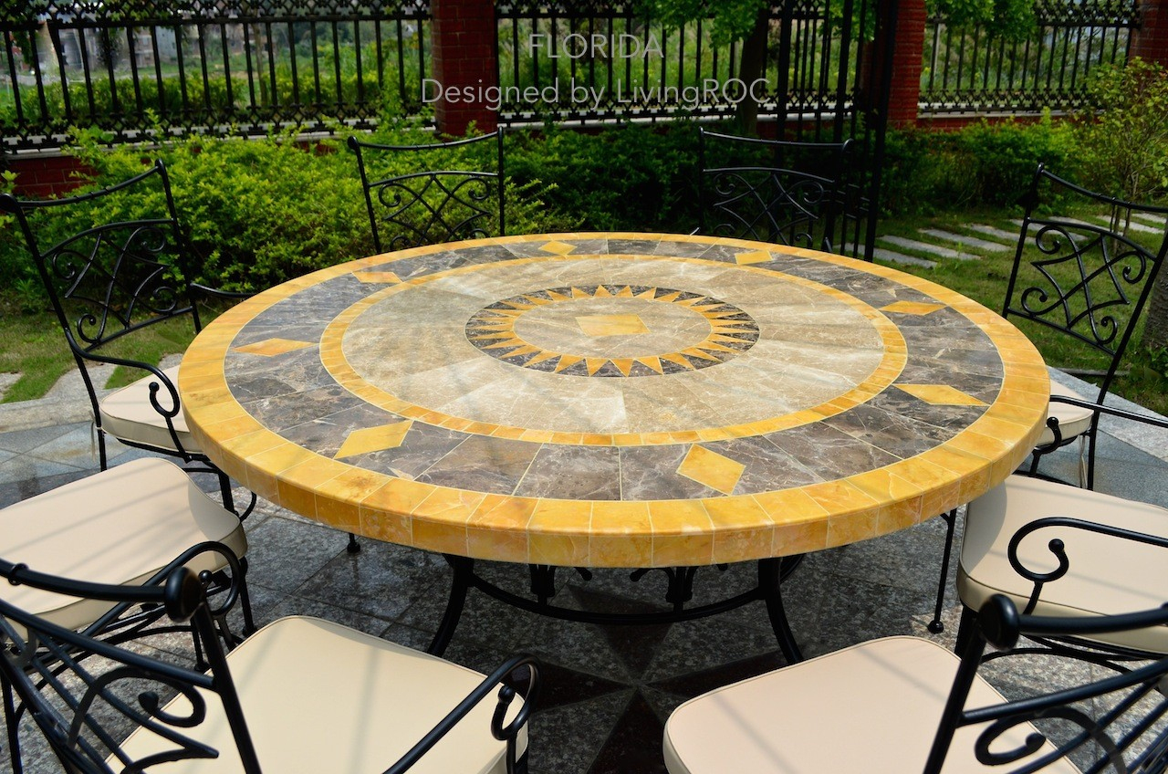 Table De Jardin Mosaïque Ronde De Marbre 125-160 Floride concernant Table De Jardin En Mosaique