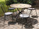 Table De Jardin Mosaique Ronde En Pierre + 4 Chaises concernant Salon De Jardin Mosaique