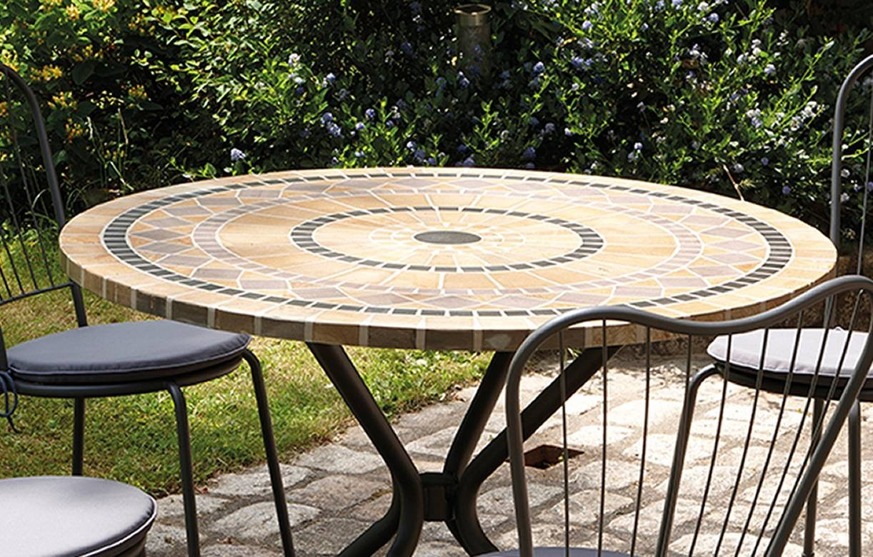 Table De Jardin Mosaique Ronde En Pierre + 4 Chaises dedans Salon De Jardin Mosaique