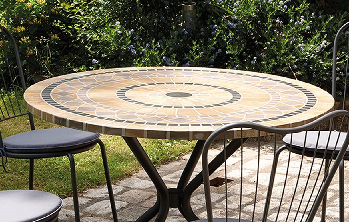 Table De Jardin Mosaique Ronde En Pierre + 4 Chaises dedans Table De Jardin En Mosaique