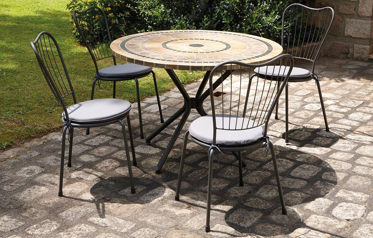Table De Jardin Mosaique Ronde En Pierre + 4 Chaises destiné Salon Jardin Mosaique