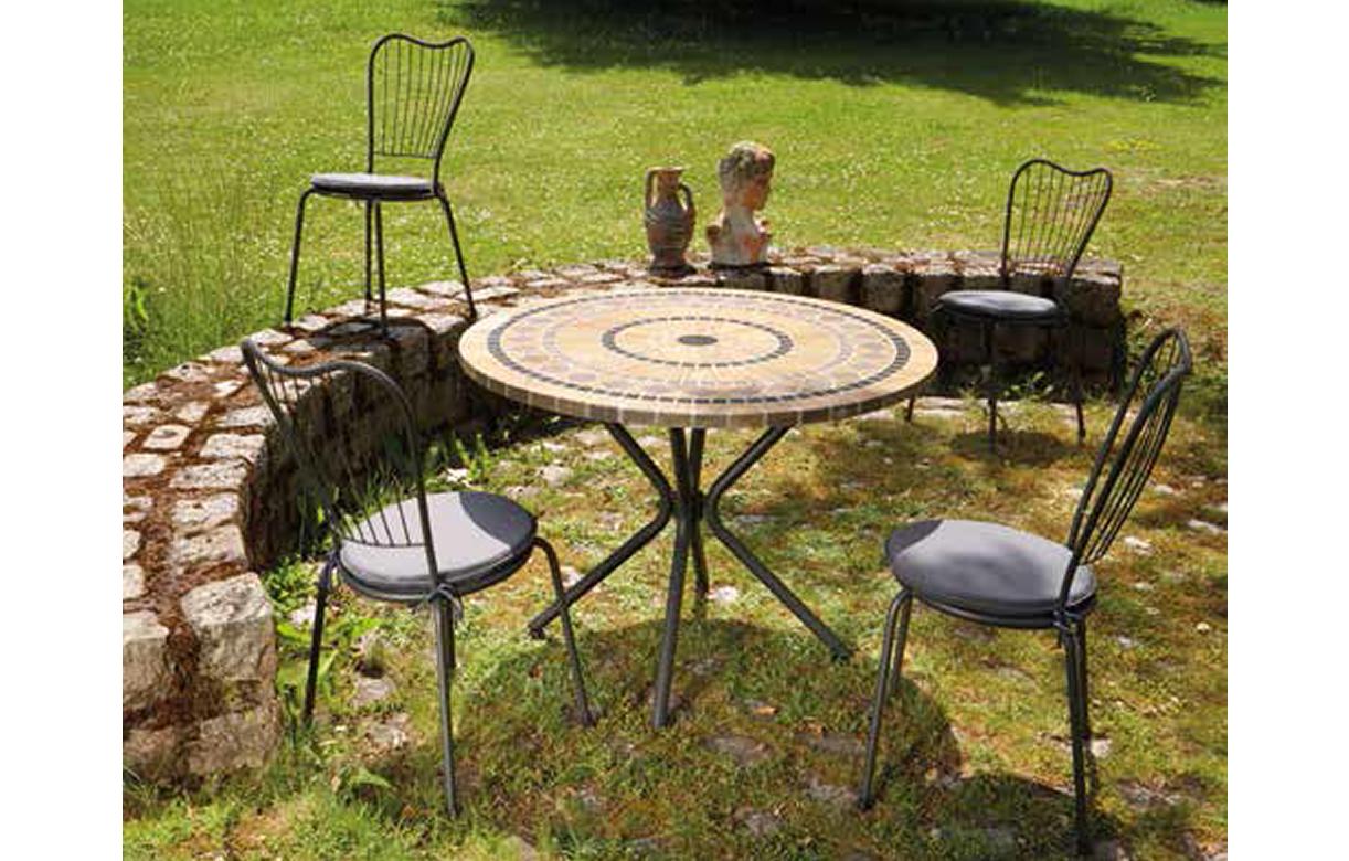 Table De Jardin Mosaique Ronde En Pierre + 4 Chaises intérieur Salon Jardin Mosaique