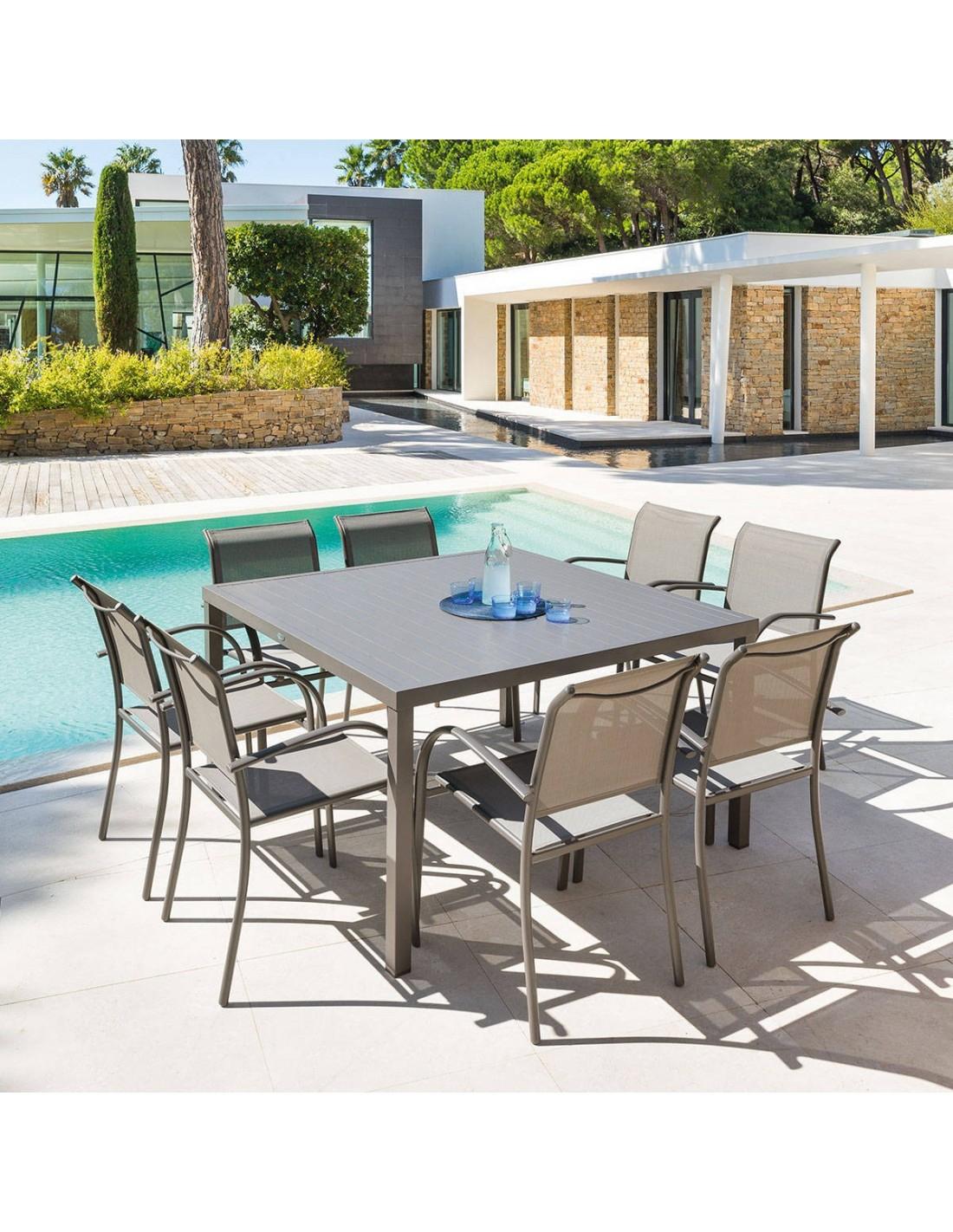 Table De Jardin Piazza Carrée - 8 Places - Aluminium - Hesperide dedans Table Jardin Hesperide