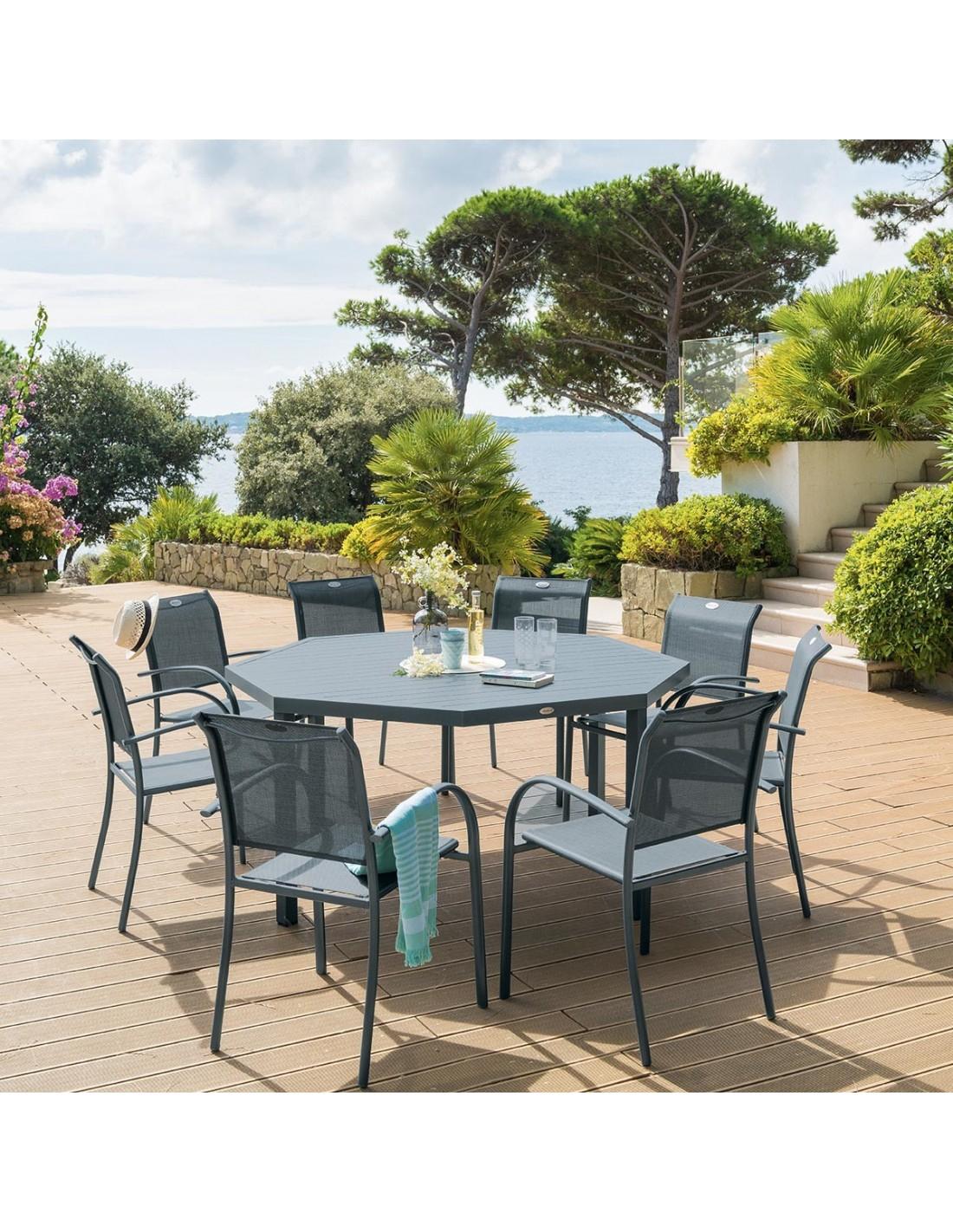 Table De Jardin Piazza Octogonale Aluminium - 8 Places ... destiné Table Jardin Hesperide