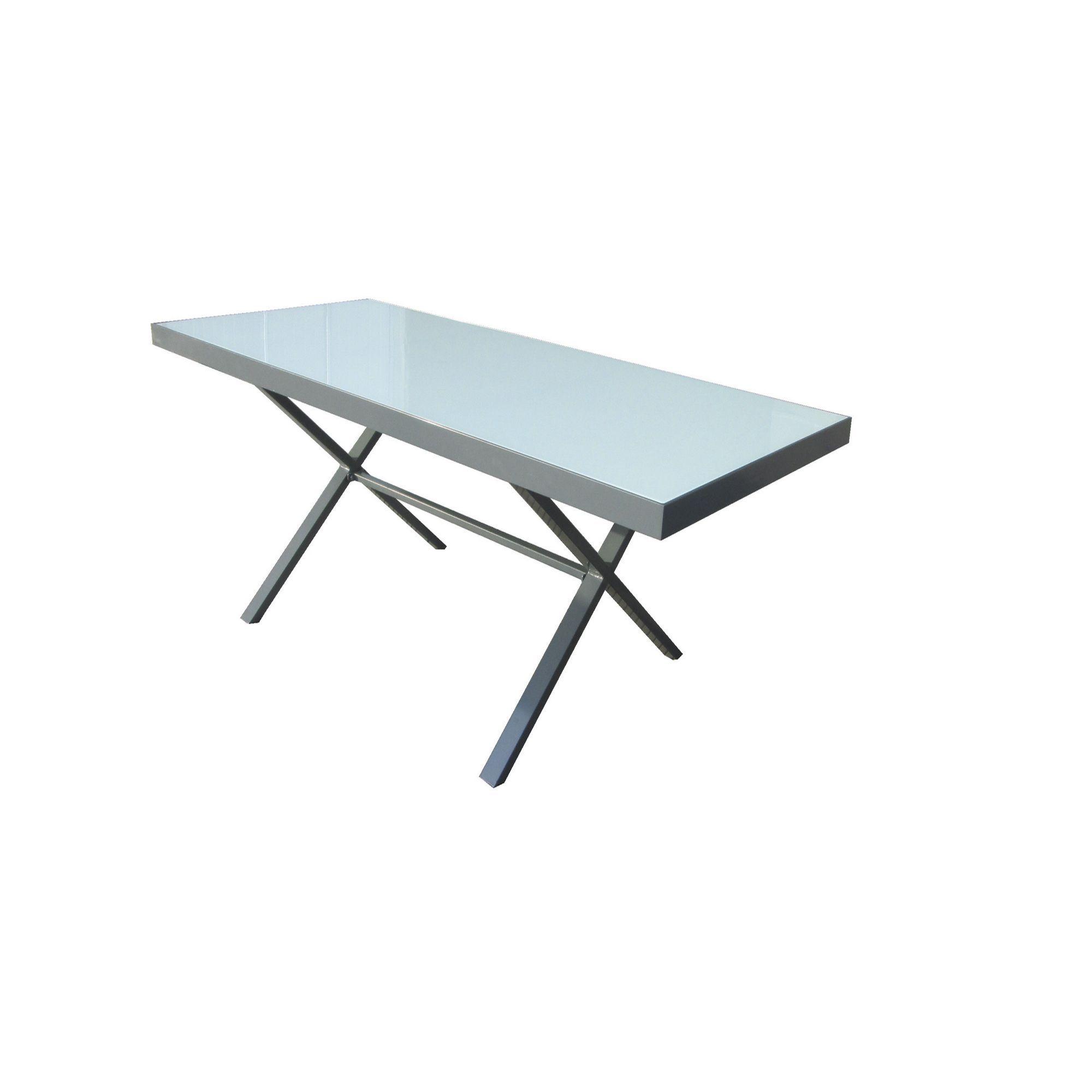 Table De Jardin Pieds Croisés En Aluminium Et Verre Noir ... concernant Salon De Jardin Aluminium Et Verre