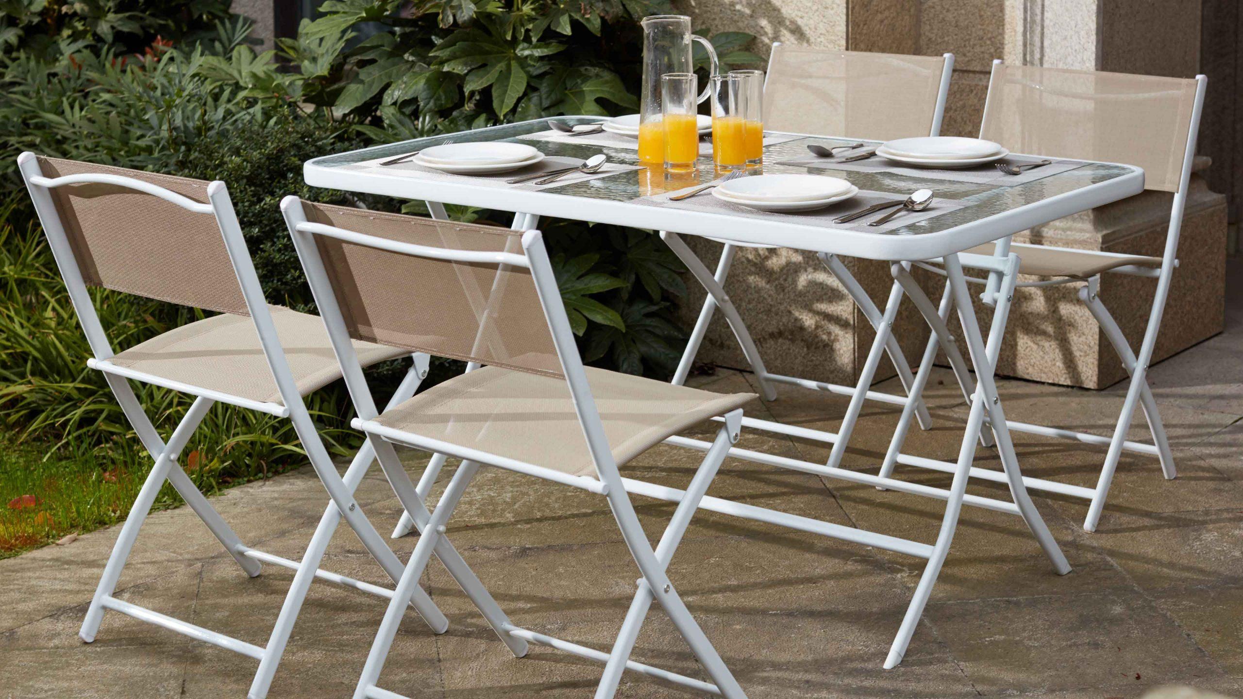 Table De Jardin Pliante 4 Places | Oviala tout Table De Jardin Avec Chaise Pas Cher
