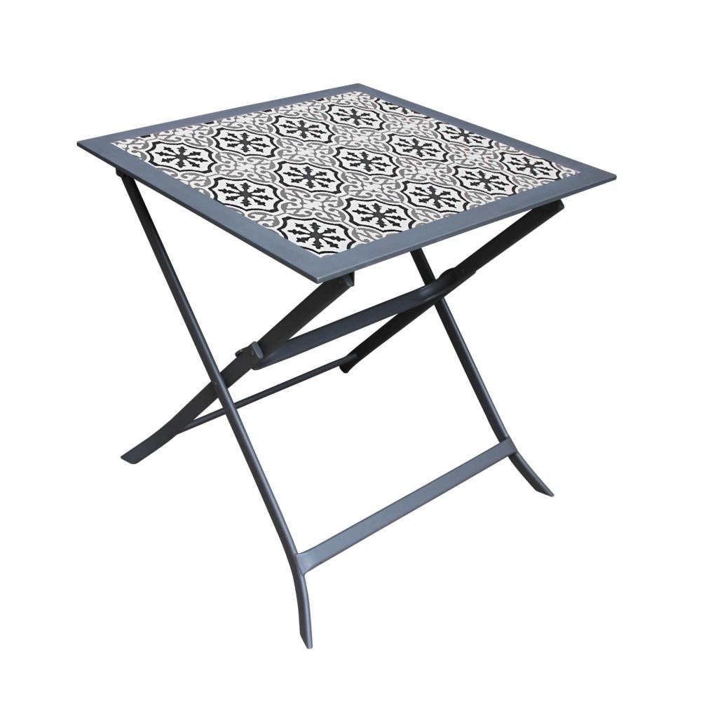 Table De Jardin Pliante Carrée Genève destiné Table De Jardin Metal Pliante