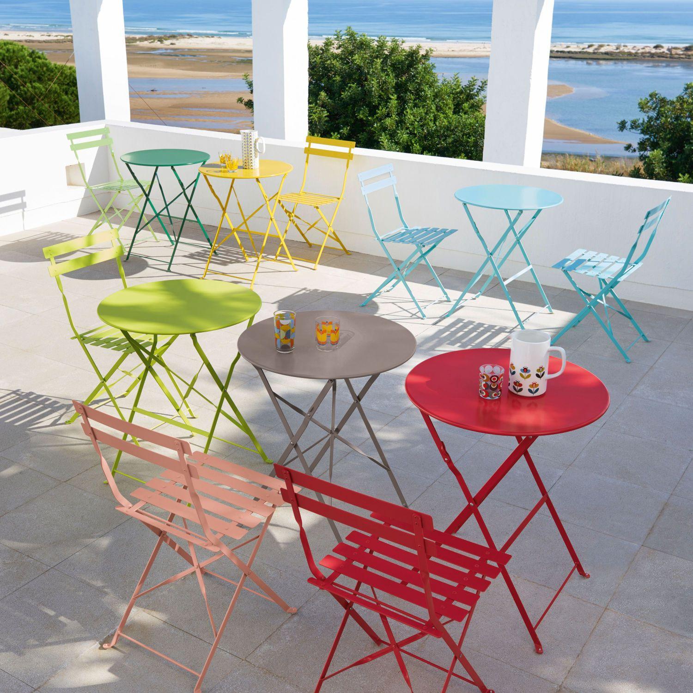 Table De Jardin Pliante En Métal Rouge Framboise   Garden ... concernant Table De Jardin Maison Du Monde