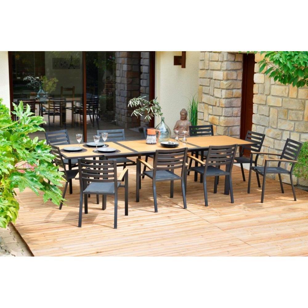 Table De Jardin Rectangulaire Belize Extensible Aluminium encequiconcerne Salon De Jardin Table Haute
