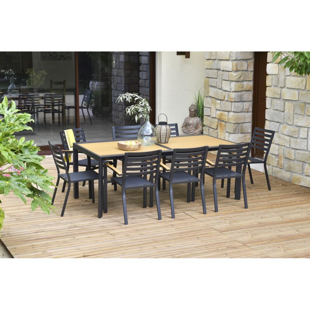 Table De Jardin Rectangulaire Belize Extensible Aluminium pour Table Et Chaise De Jardin En Teck Pas Cher