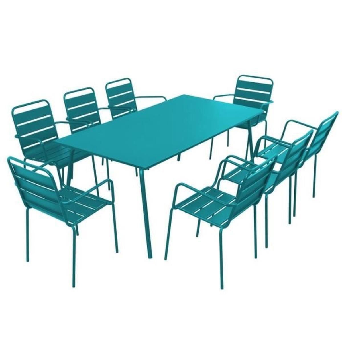 Table De Jardin Rectangulaire Et 8 Chaises Avec Accoudoirs ... avec Table Et Chaise De Jardin Design