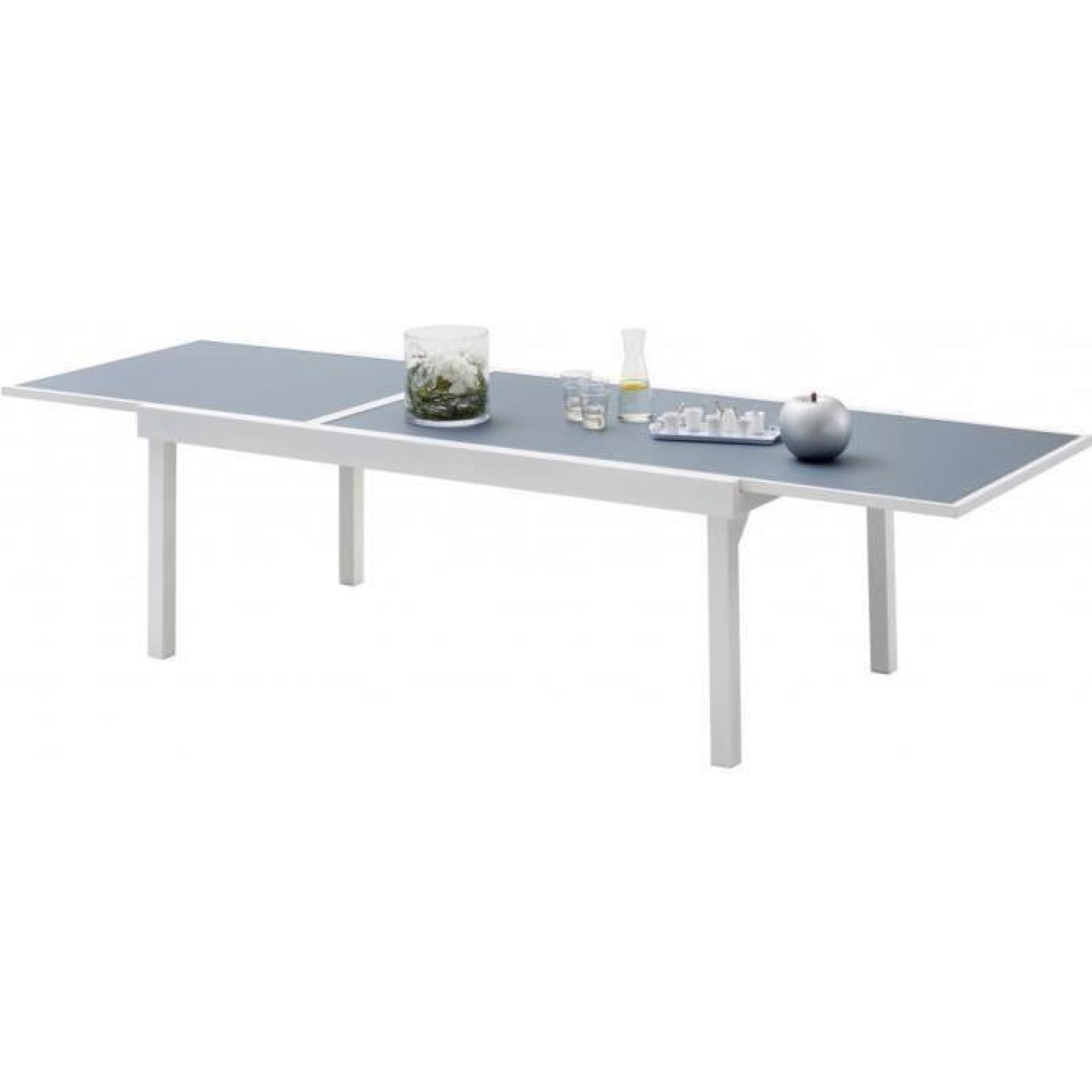 Table De Jardin Rectangulaire Extensible Aluminium Blanc Et Verre Trempé  Gris L135 destiné Table De Jardin Aluminium Et Verre