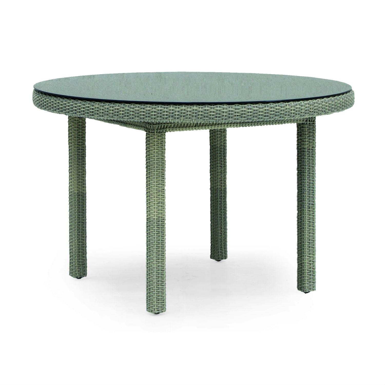 Table De Jardin Ronde 120 Cm En Résine Tressée Et Aluminium encequiconcerne Table De Jardin En Resine Tressée