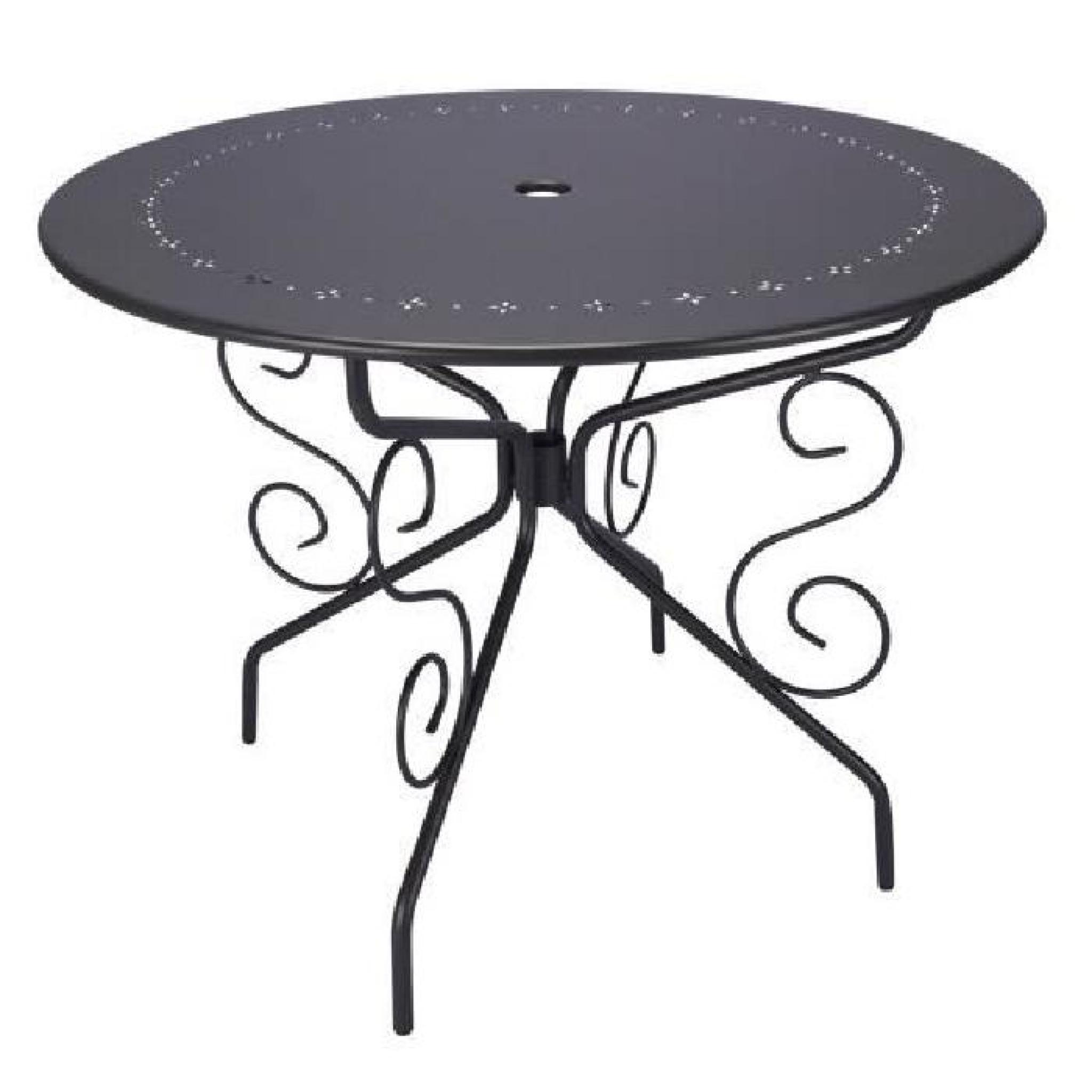 Table De Jardin Ronde D95Cm Romantique Gris Anthracite 4 Places serapportantà Table De Jardin Ronde Pas Cher