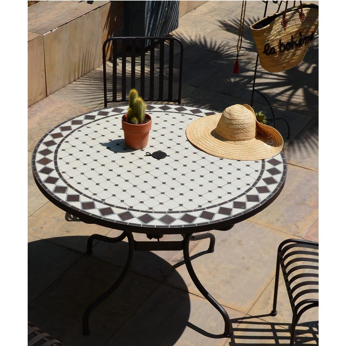 Table De Jardin Ronde Diam 110Cm Mosaique avec Chaise De Jardin Auchan