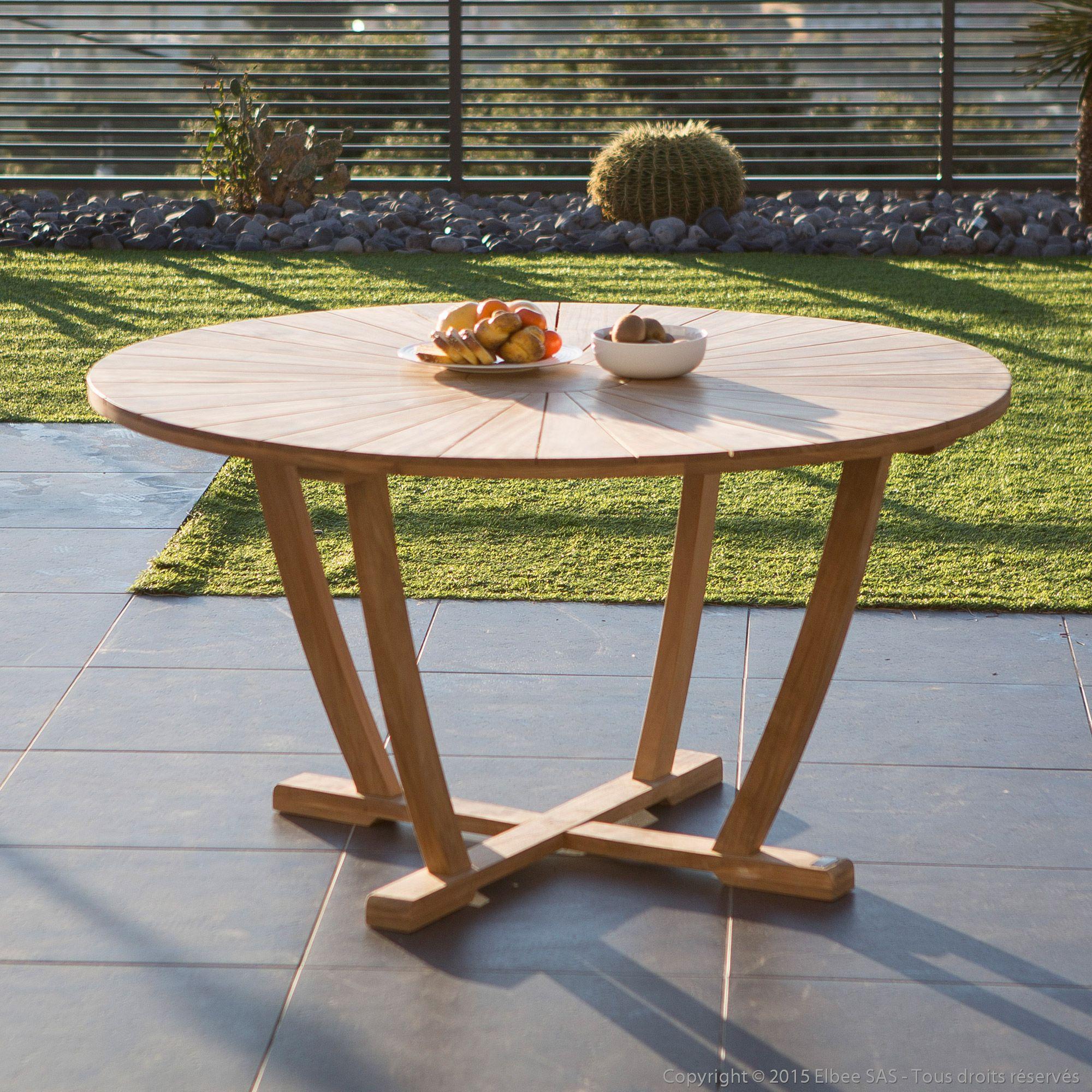 Table De Jardin Ronde En Teck Brut 140Cm Palma Ermanno G ... destiné Table De Jardin Ronde En Bois
