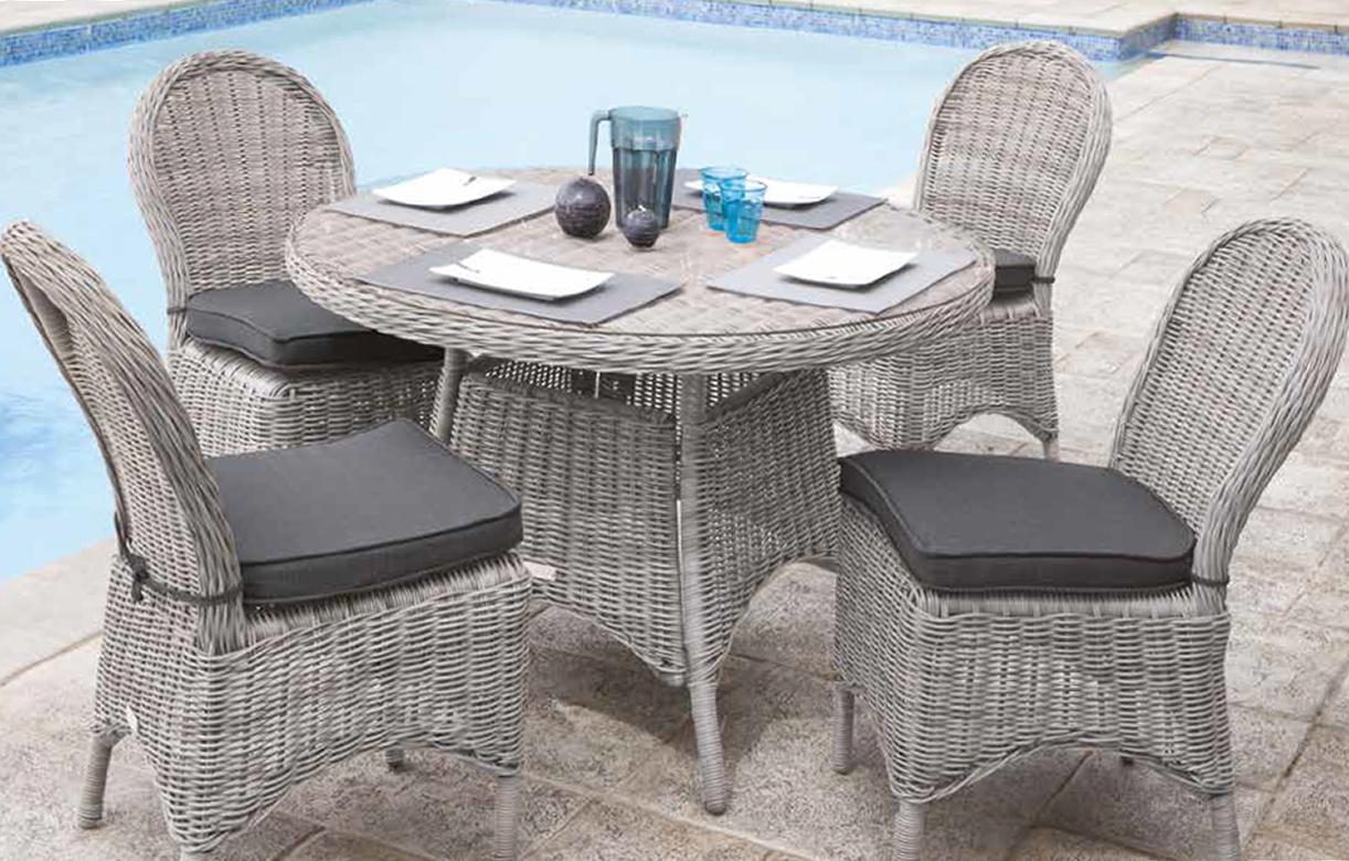 Table De Jardin Ronde Et 4 Chaises En Résine Tressée Rotin pour Table Et Chaise De Jardin En Resine Tressee