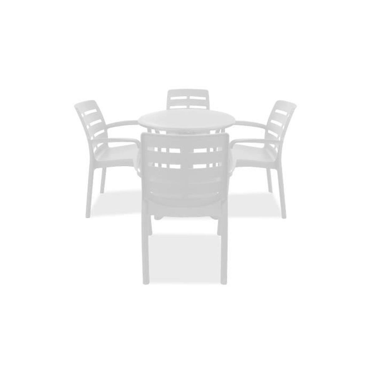 Table De Jardin Ronde Et 4 Fauteuils Plastique Blanc - Achat ... à Table Et Chaise De Jardin En Plastique