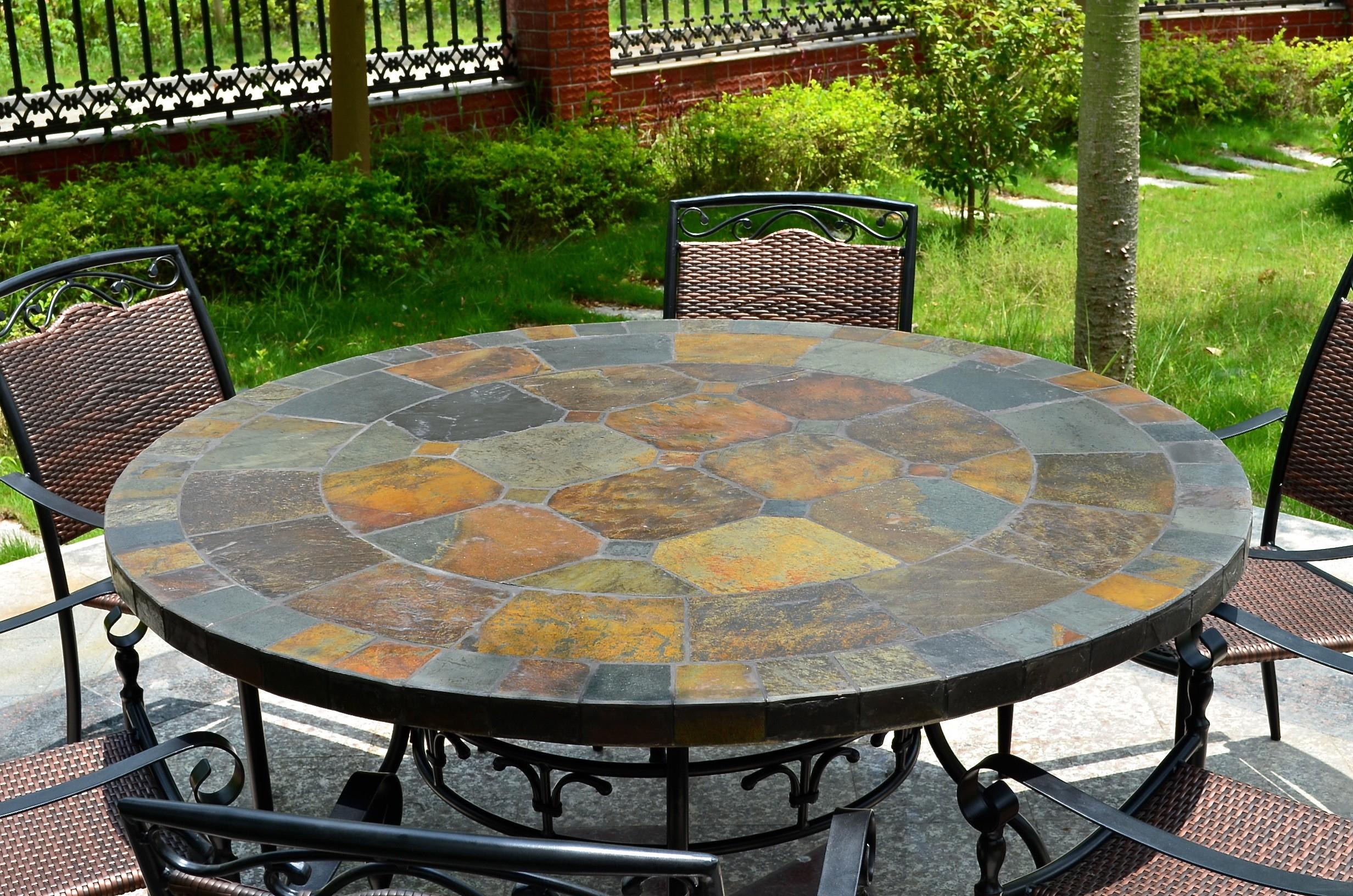 Table De Jardin Ronde Mosaïque D'ardoise 125-160 Oceane avec Table De Jardin En Mosaique
