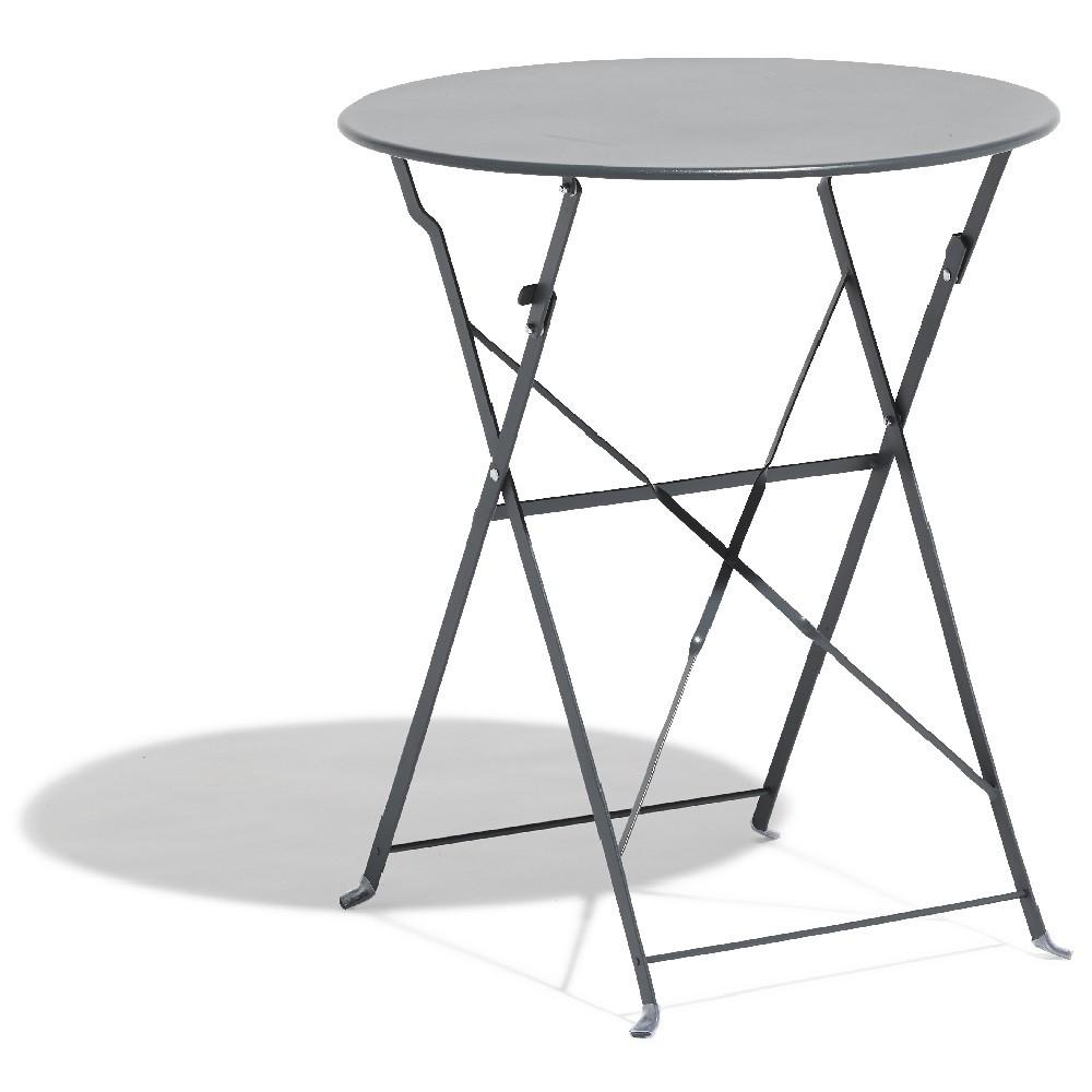 Table De Jardin Ronde Pliante 2 Personnes Métal Gris dedans Table De Jardin En Metal