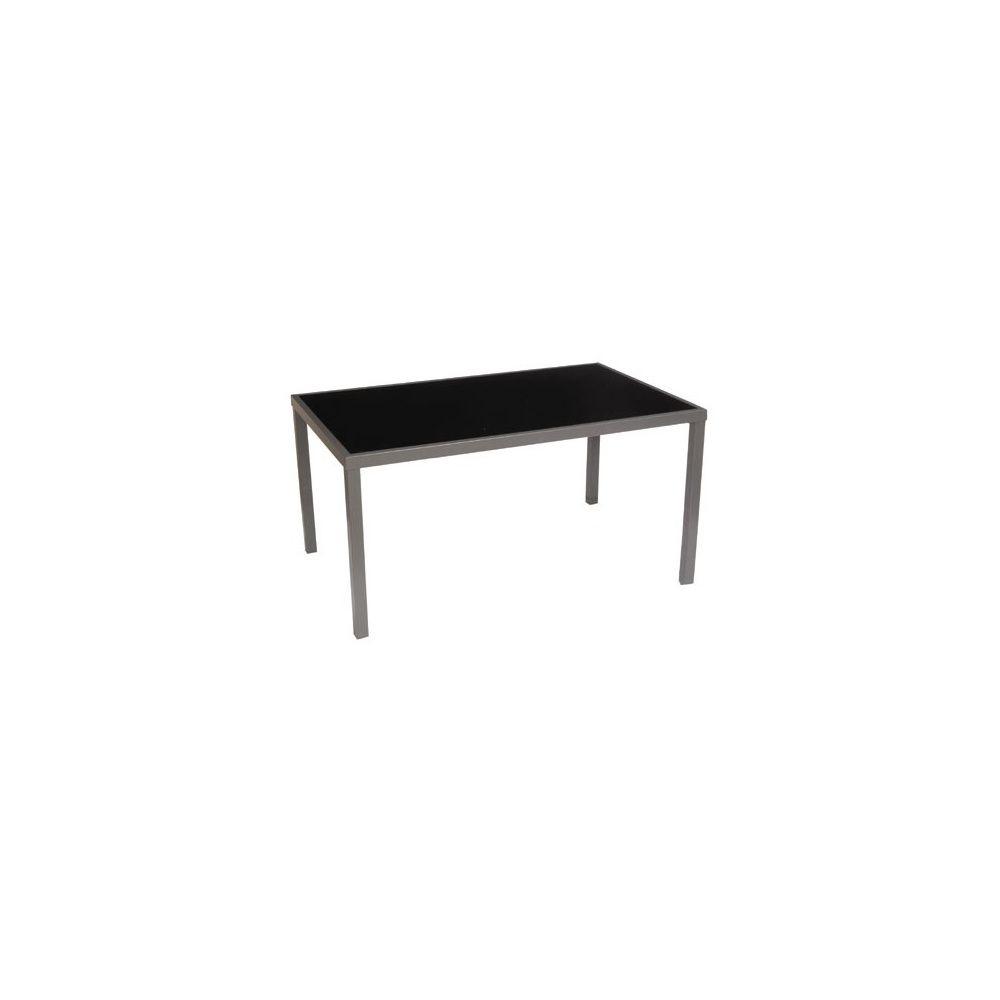 Table De Jardin Star Pour 6 Personnes En Aluminium Et Verre Trempé -  160X100Cm - Noir concernant Table De Jardin Aluminium Et Verre