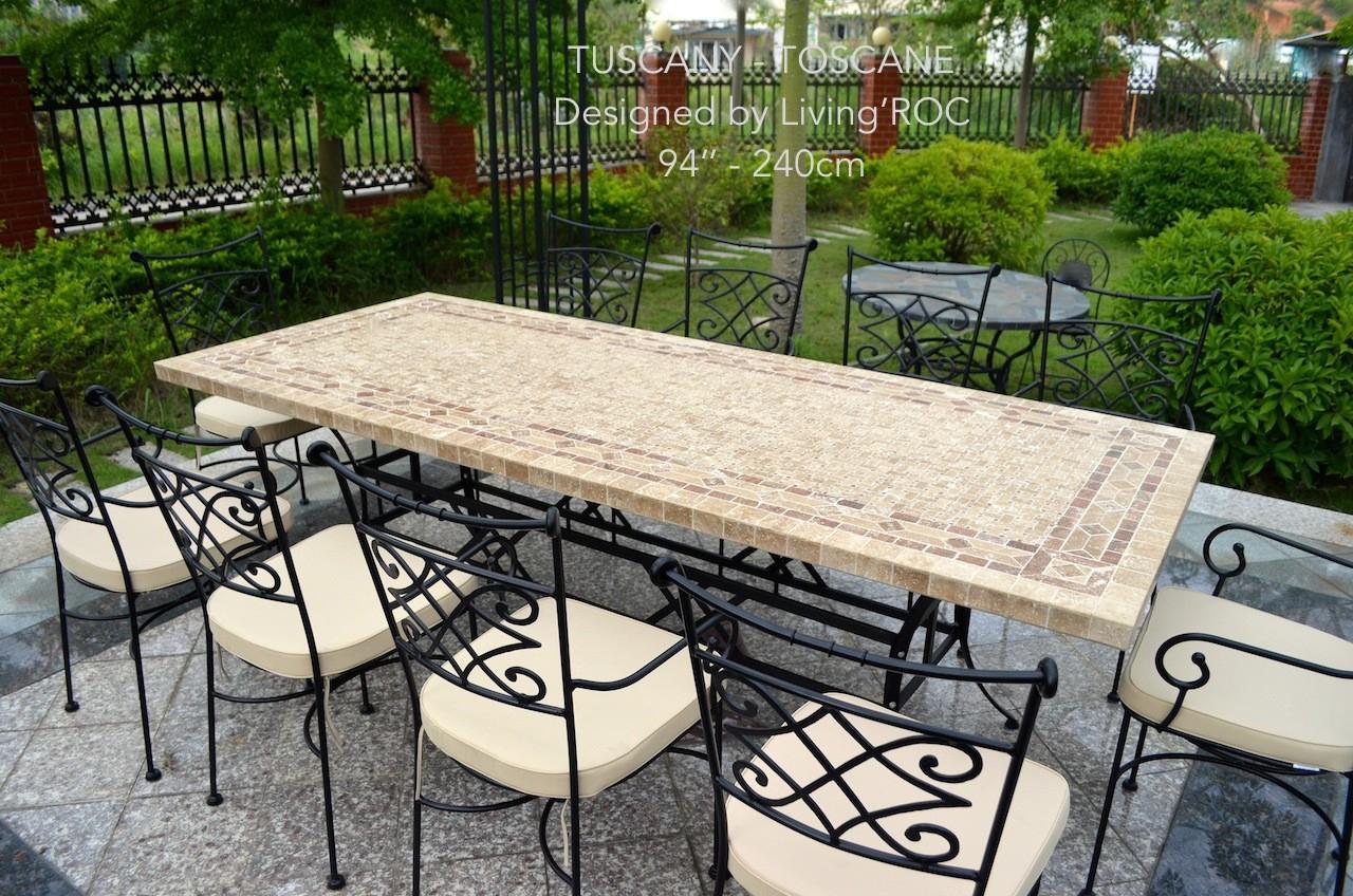 Table De Jardin Table Mosaïque En Pierre Naturelle 160-200-240 Toscane tout Table De Jardin En Mosaique