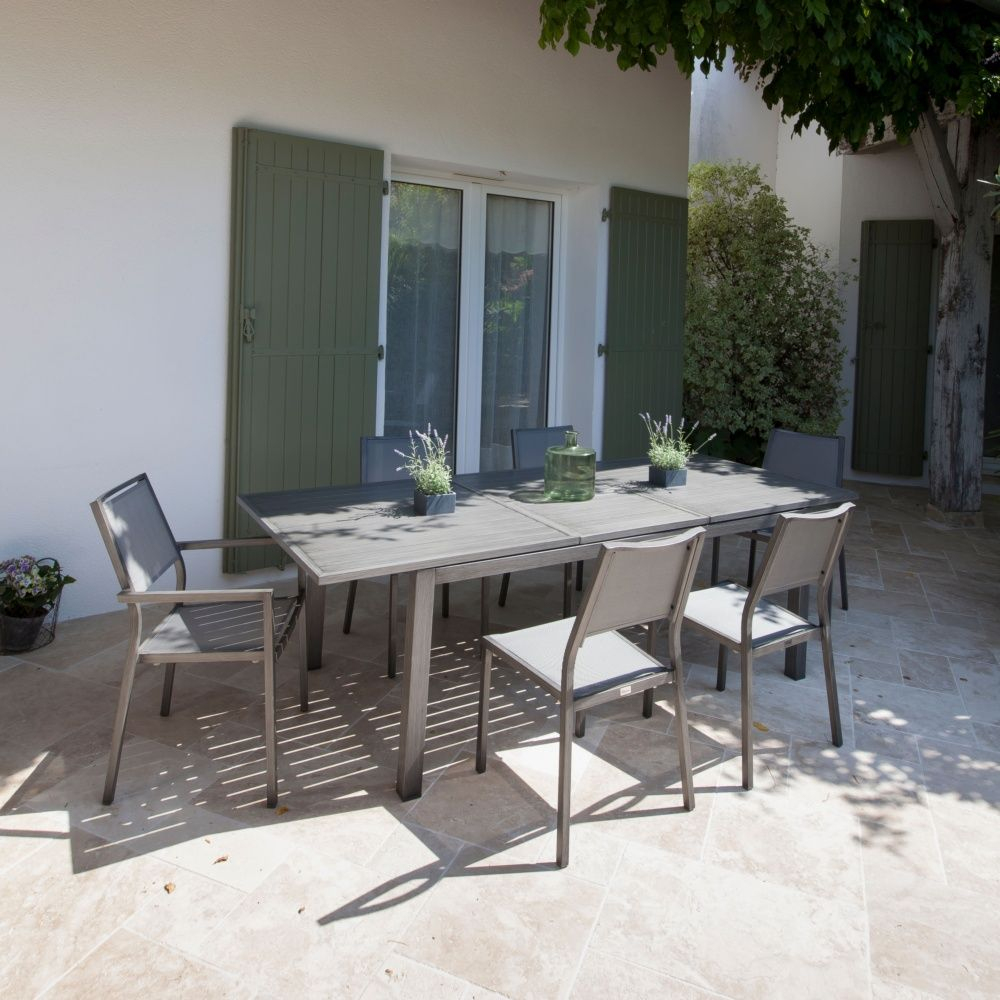 Table De Jardin Trieste Aluminium L180/240 L100 Cm Argent encequiconcerne Salon De Jardin Gamm Vert
