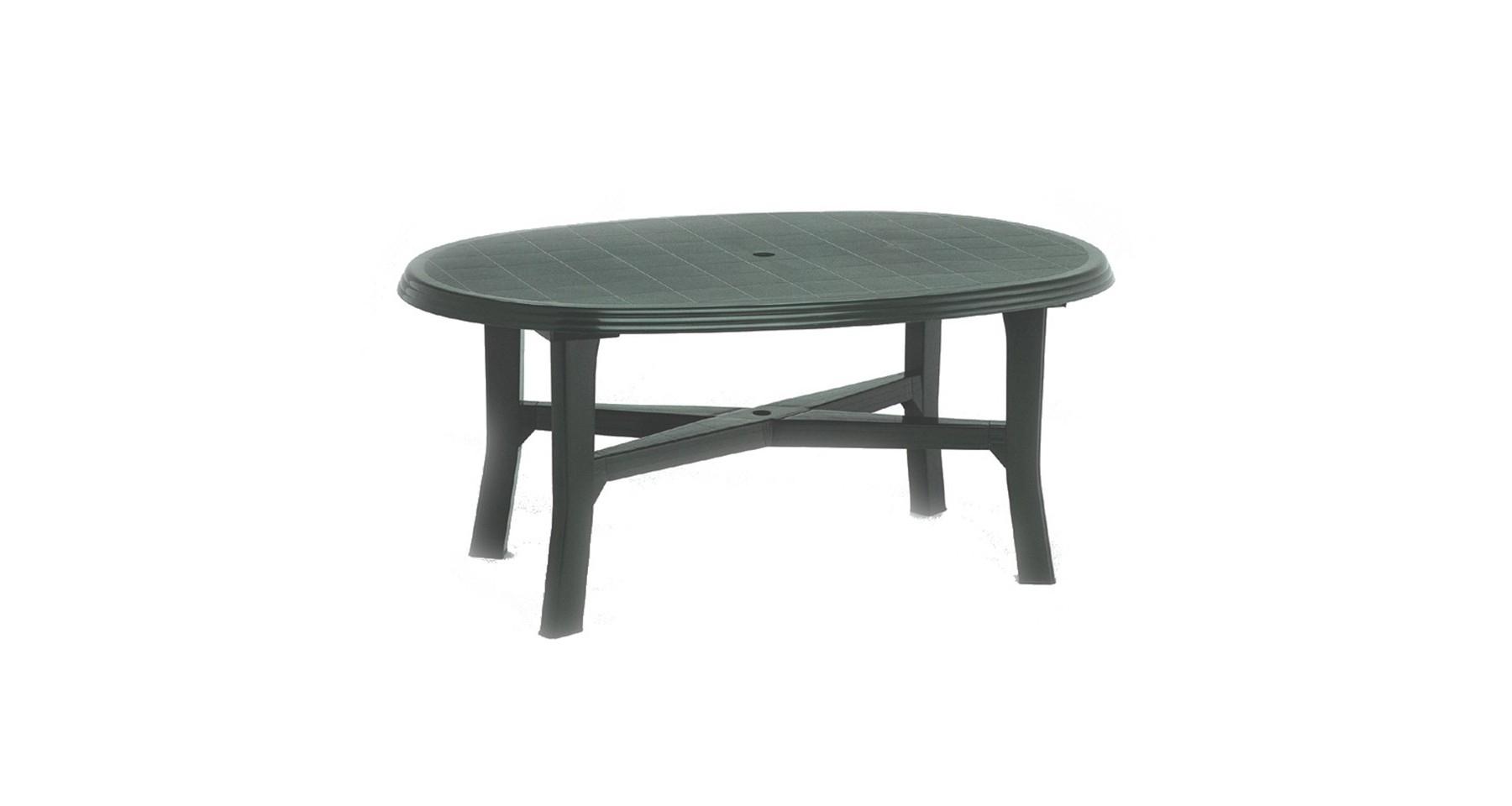 Table De Jardin Verte Ovale En Polyproplyène 6 Personnes Load intérieur Table Jardin Verte