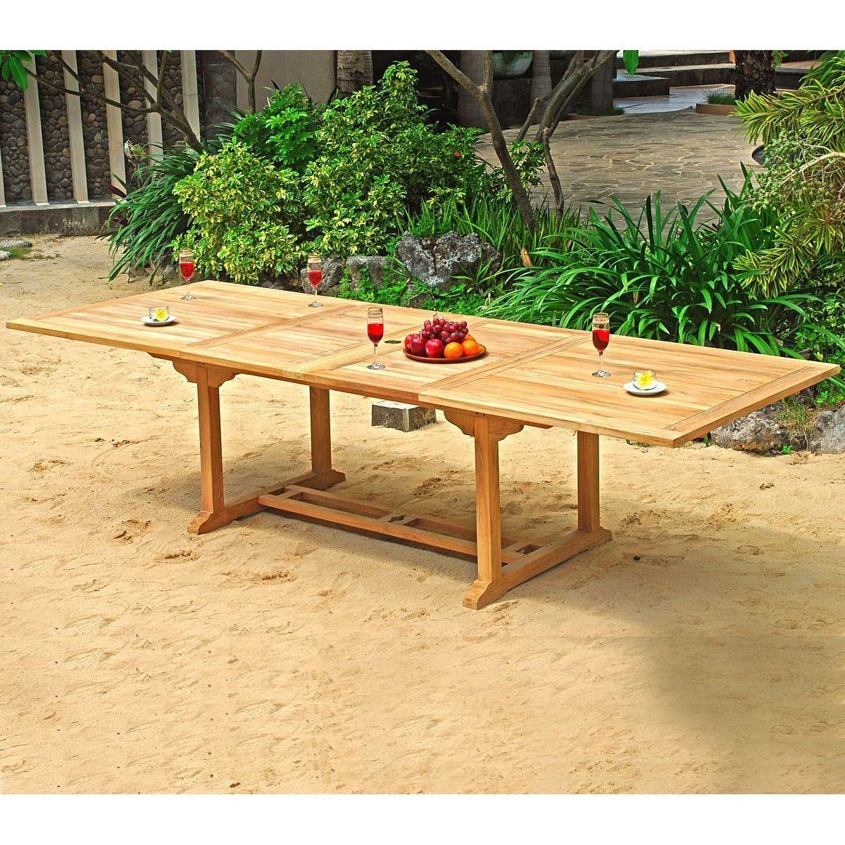 Table De Jardin Xxl En Teck Brut - Double Rallonge Papillon ... destiné Table De Jardin Xxl