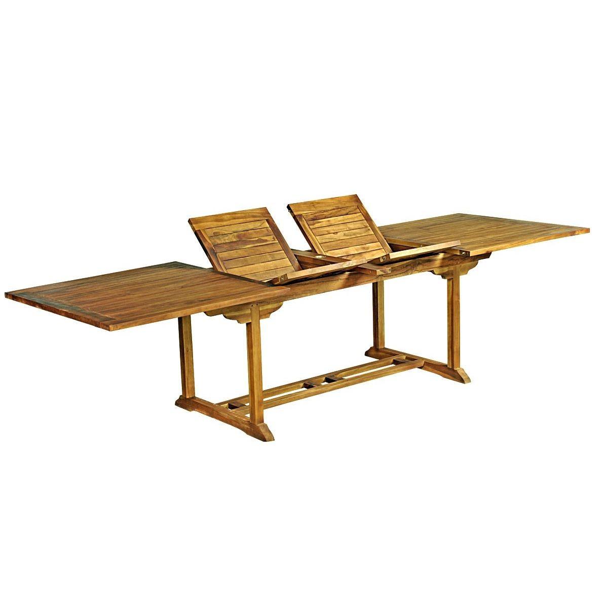 Table De Jardin Xxl En Teck Huilé - Double Rallonge Papillon ... à Table De Jardin Xxl
