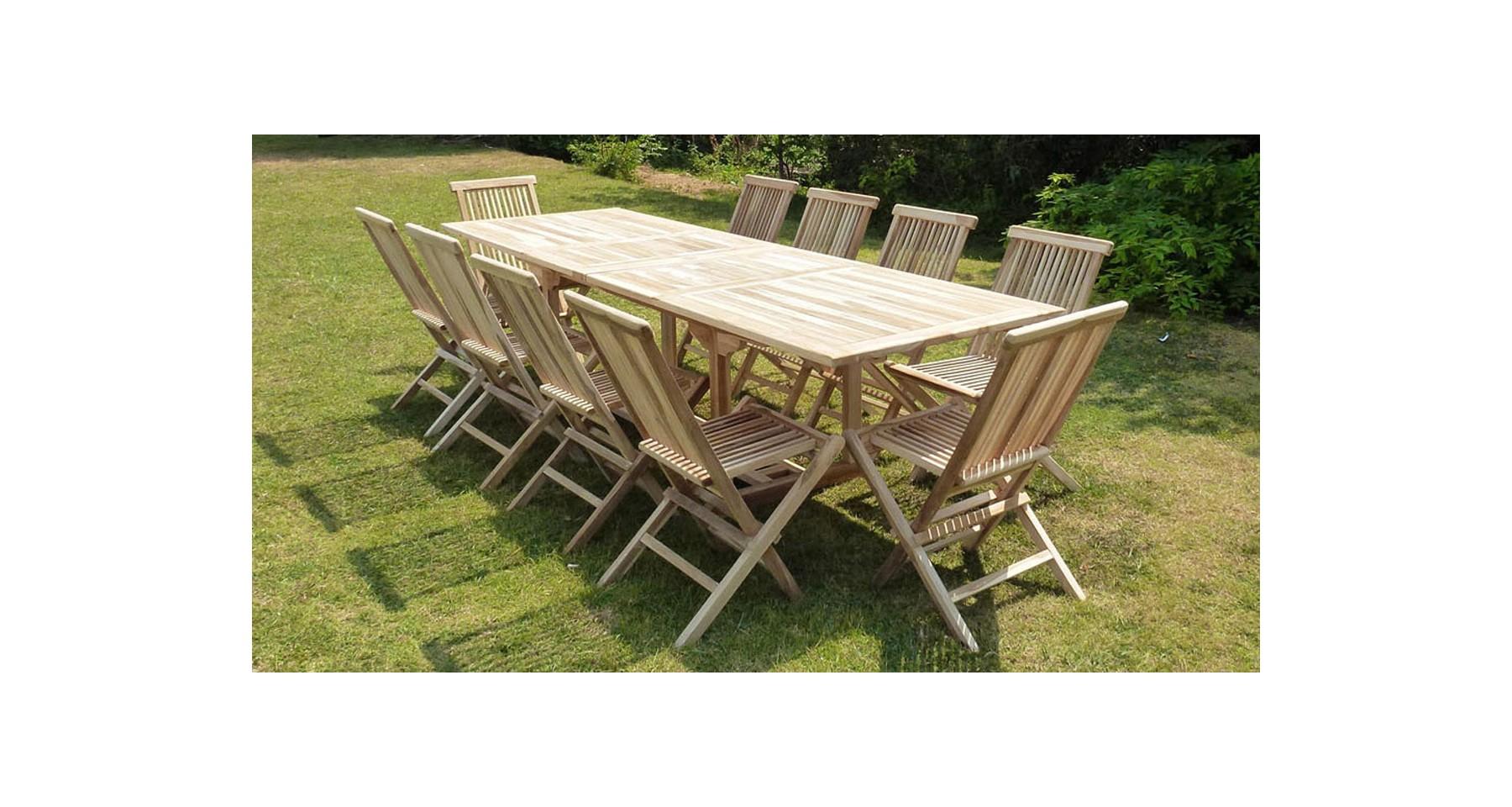 Table De Jardin Xxl Rectangulaire Avec Double Allonge 180/280 Cm En Teck  Massif Brut Lanong destiné Table De Jardin Xxl