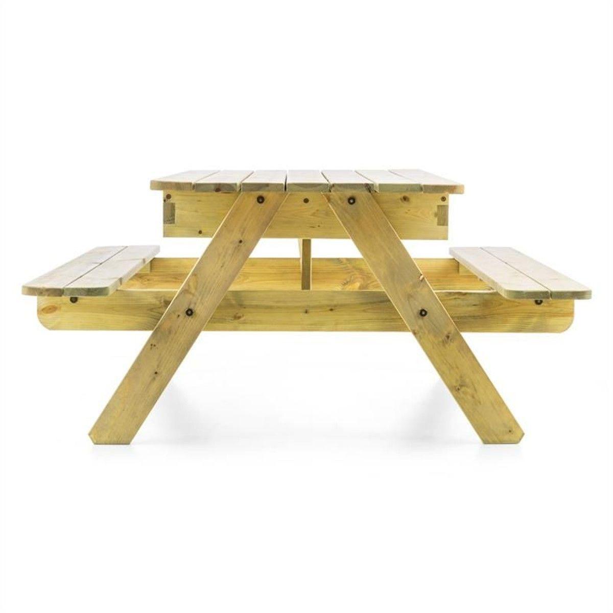 Table De Jeux Ou Pique Nique Pour Enfants Avec Banc Intégré ... tout Table De Jardin En Bois Avec Banc Integre