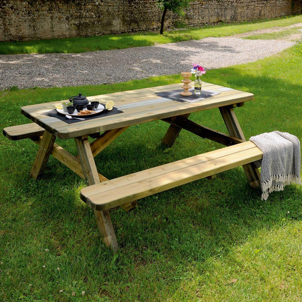 Table De Pique-Nique Bois Traité L180 L160 Cm pour Table De Jardin Pique Nique Bois