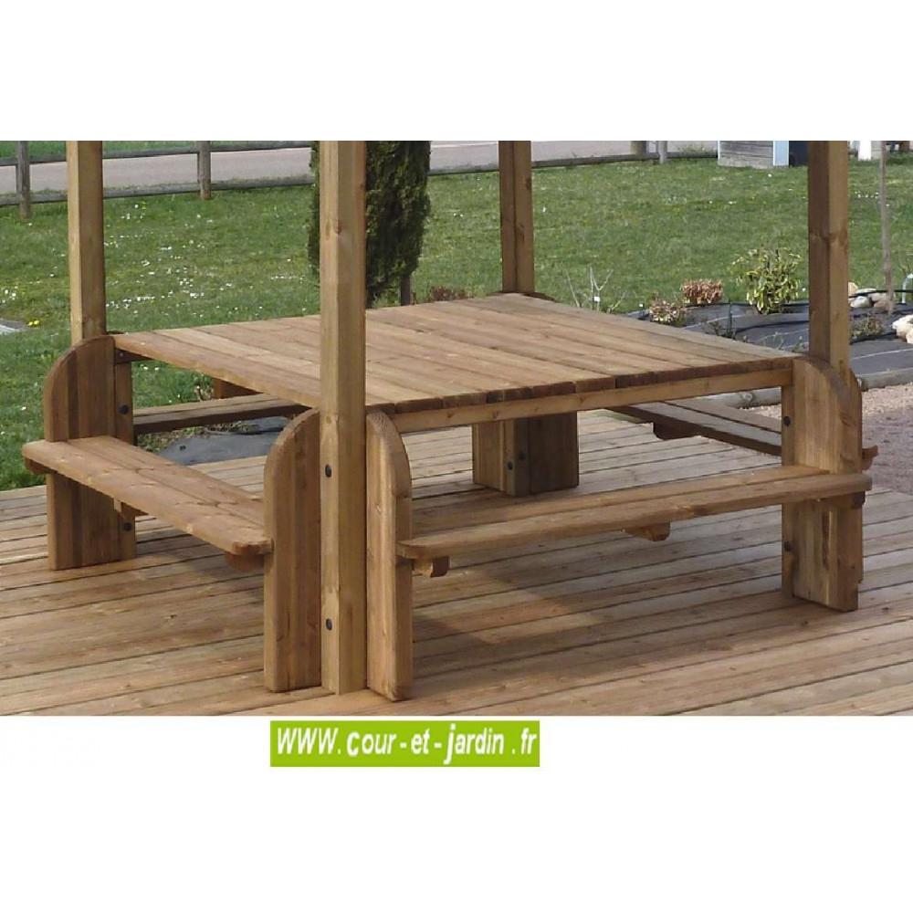 Table De Pique-Nique En Bois : Elite, Table Forestière Avec ... concernant Table De Jardin En Bois Avec Banc Integre