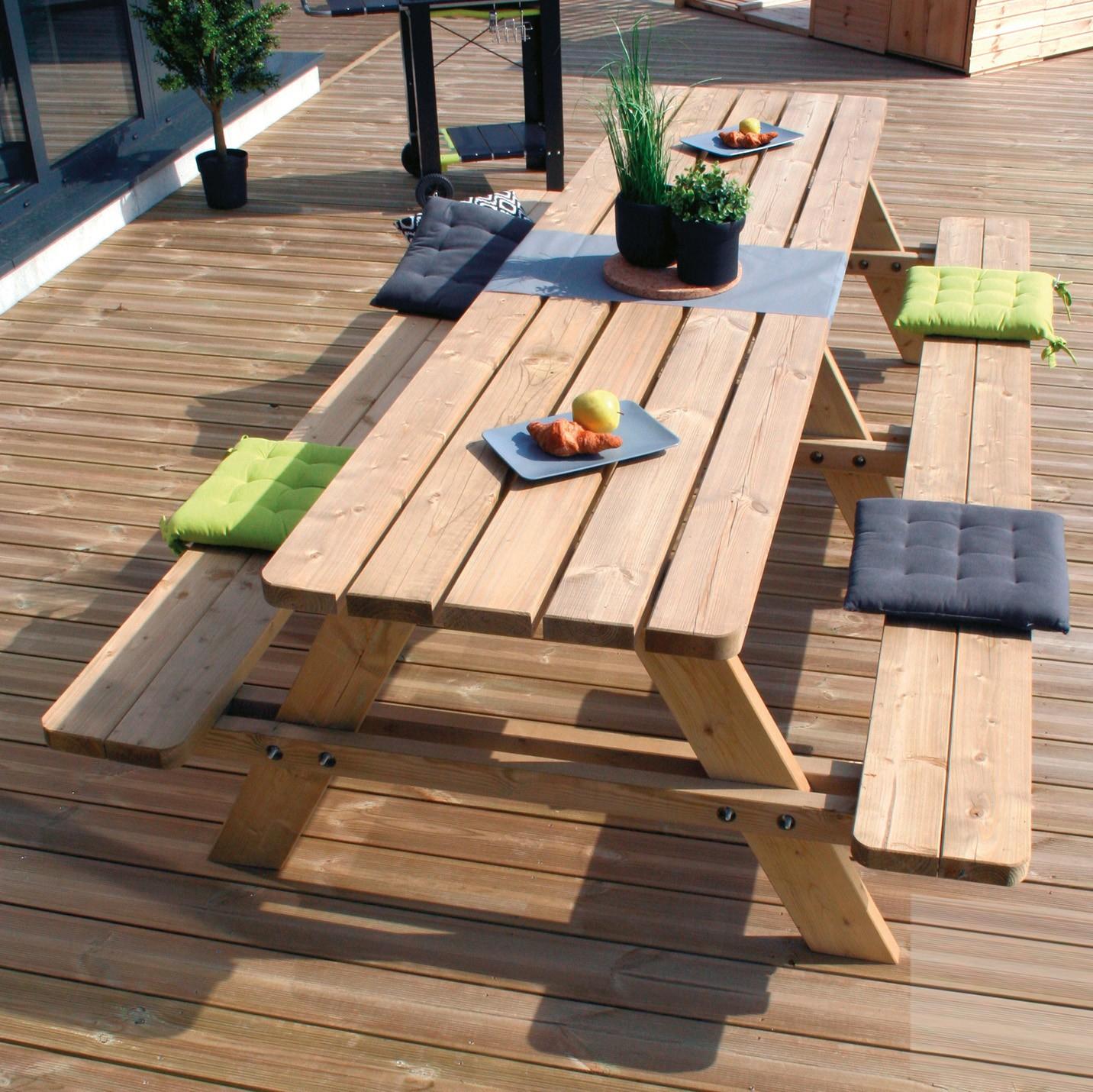 Table De Pique Nique En Bois Matisse 3 M - Mobilier De ... tout Table De Jardin Pique Nique Bois