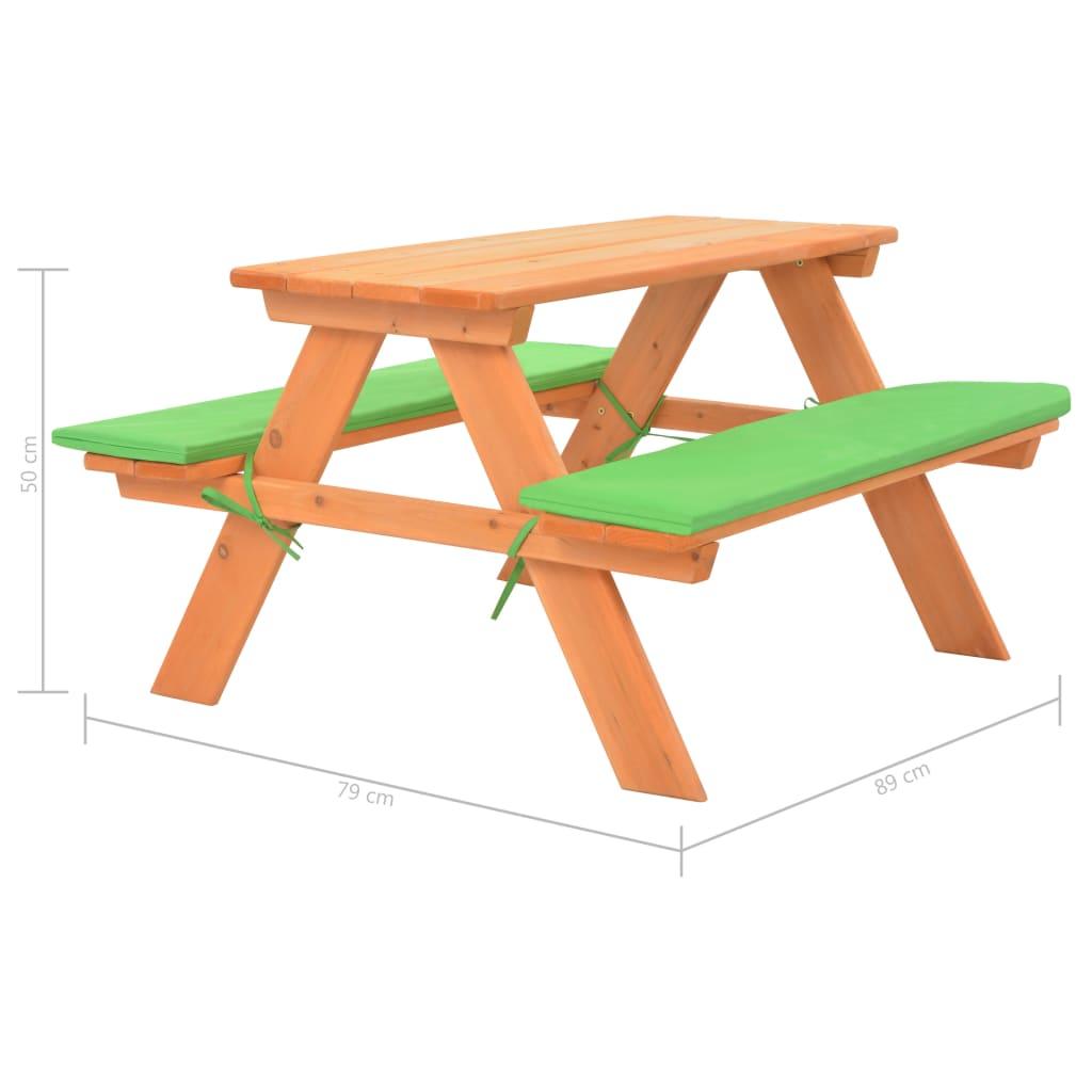 Table De Pique-Nique Pour Enfants Avec Bancs 89X79X50 Cm Sapin-Xil concernant Table De Jardin En Bois Avec Banc Integre