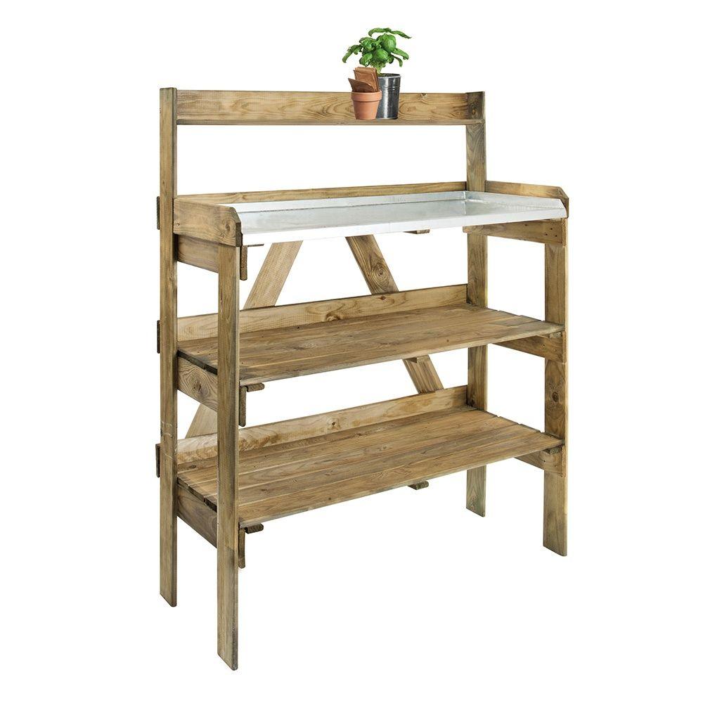 Table De Préparation Avec Étagères Pour Serres pour Etageres Jardin Pour Plantes
