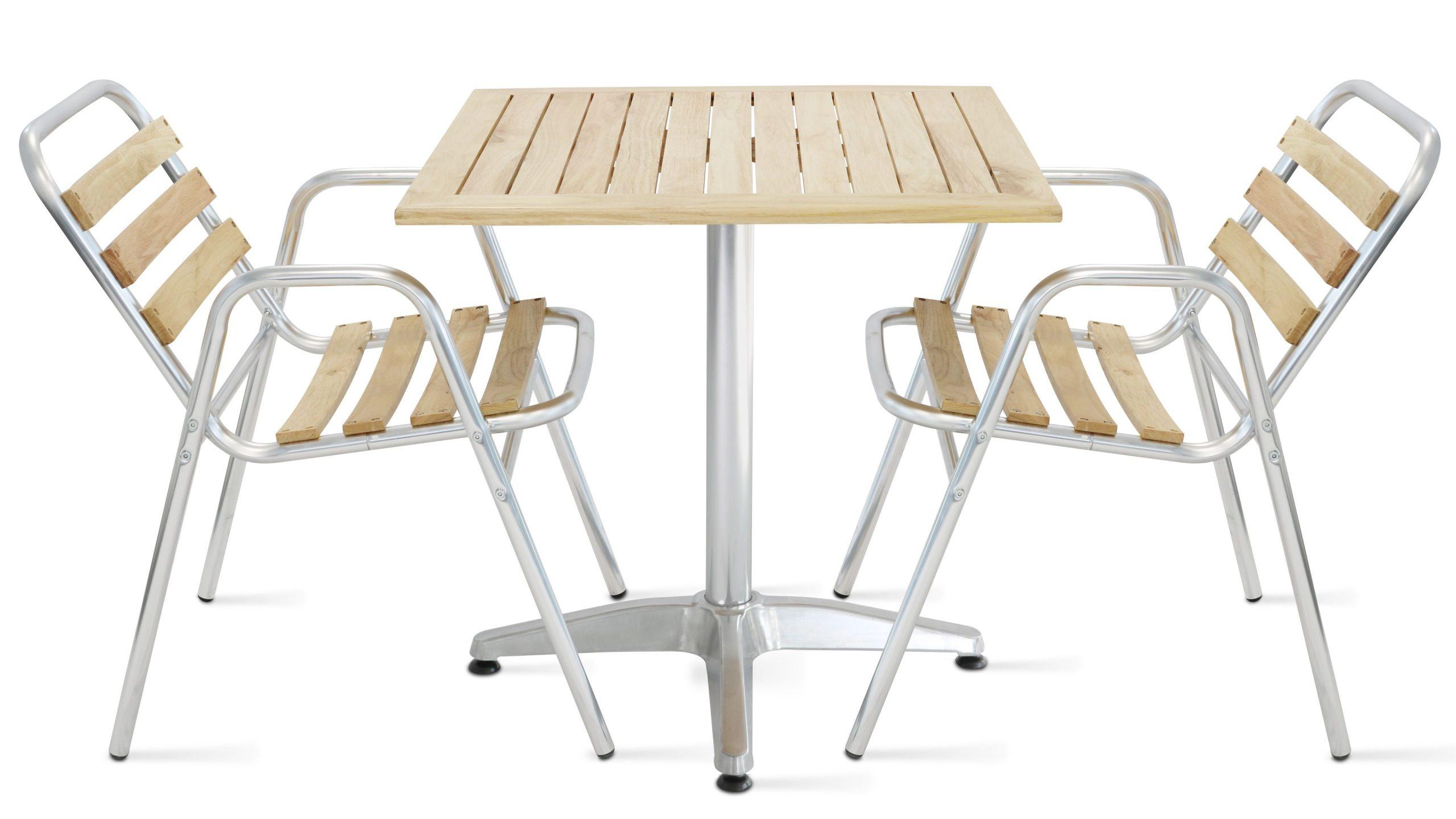 Table De Terrasse Carrée + 2 Chaises   Oviala destiné Table Et Chaise De Jardin En Bois