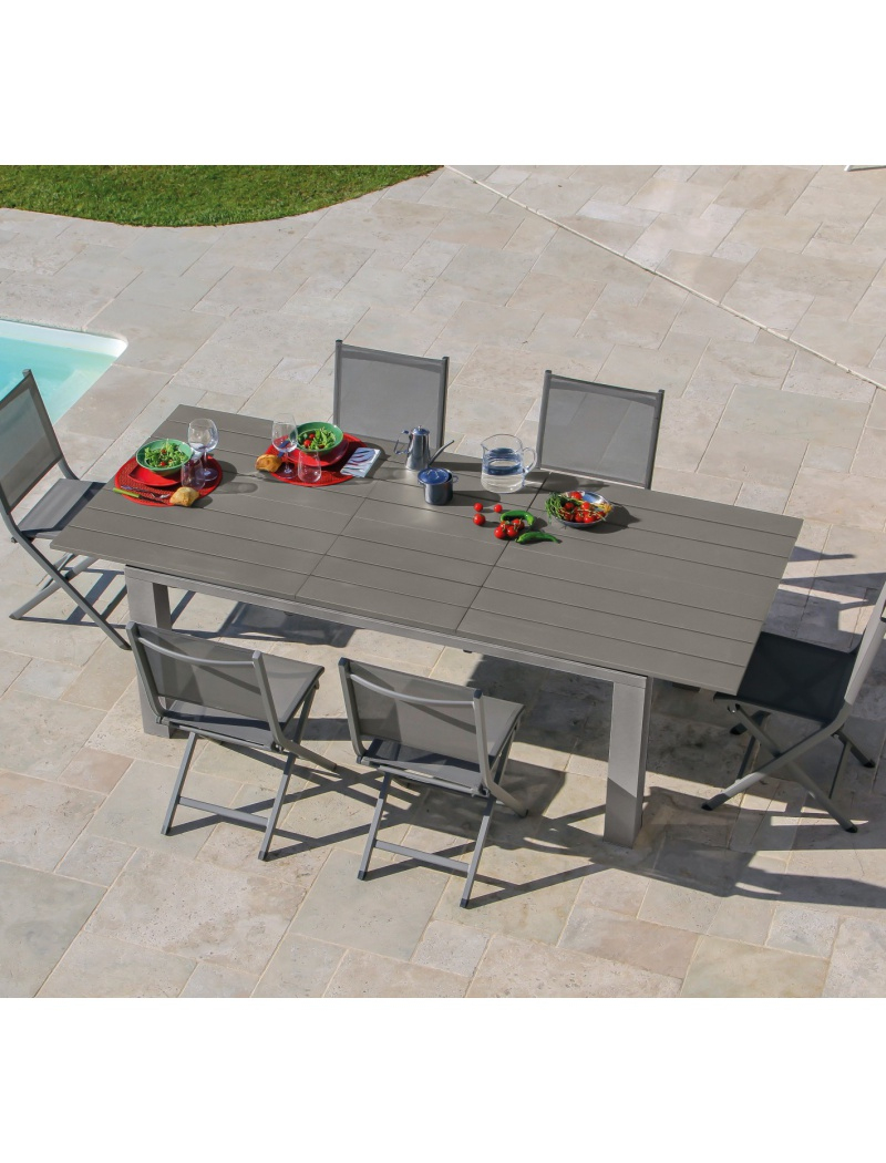Table Elena 180/240 Taupe Avec Rallonge concernant Table Jardin Aluminium Avec Rallonge