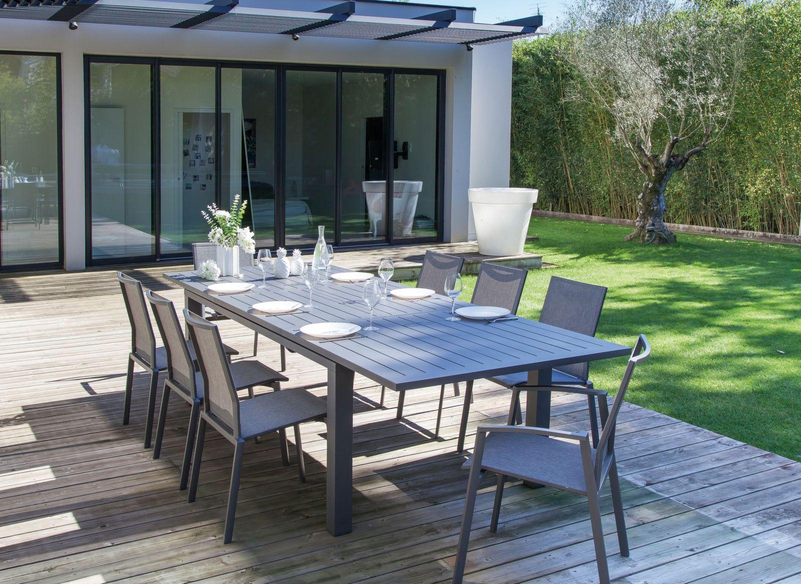Table Elisa 180/240 Cm (Finition Epoxy)   Table De Jardin ... dedans Meuble Jardin Liquidation