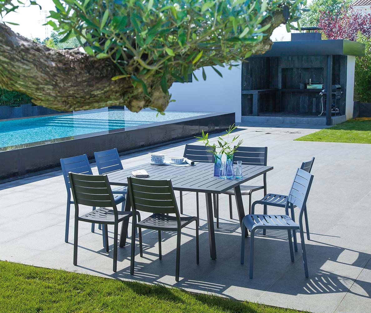 Table En Aluminium Avec Allonge Barcelona 145 Cm (Gris) En ... tout Table De Jardin Aluminium Jardiland