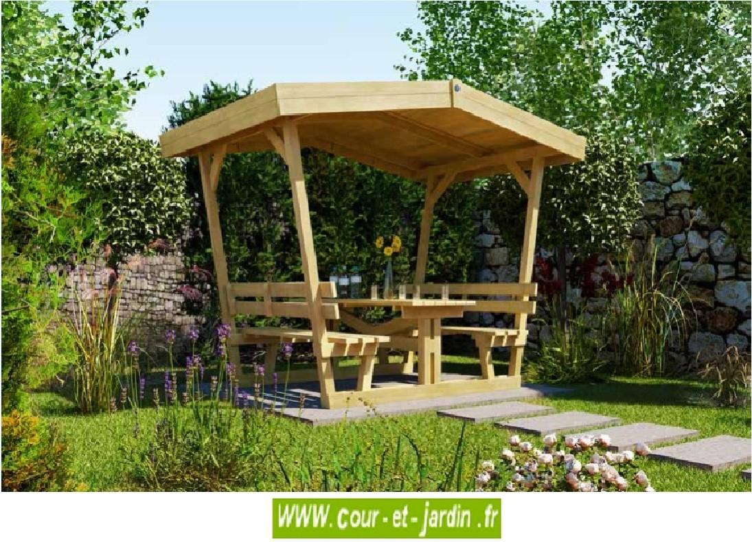 Table En Bois Avec Bancs Et Tonnelle: Bavaria De Weka ... intérieur Tonnelle De Jardin En Bois