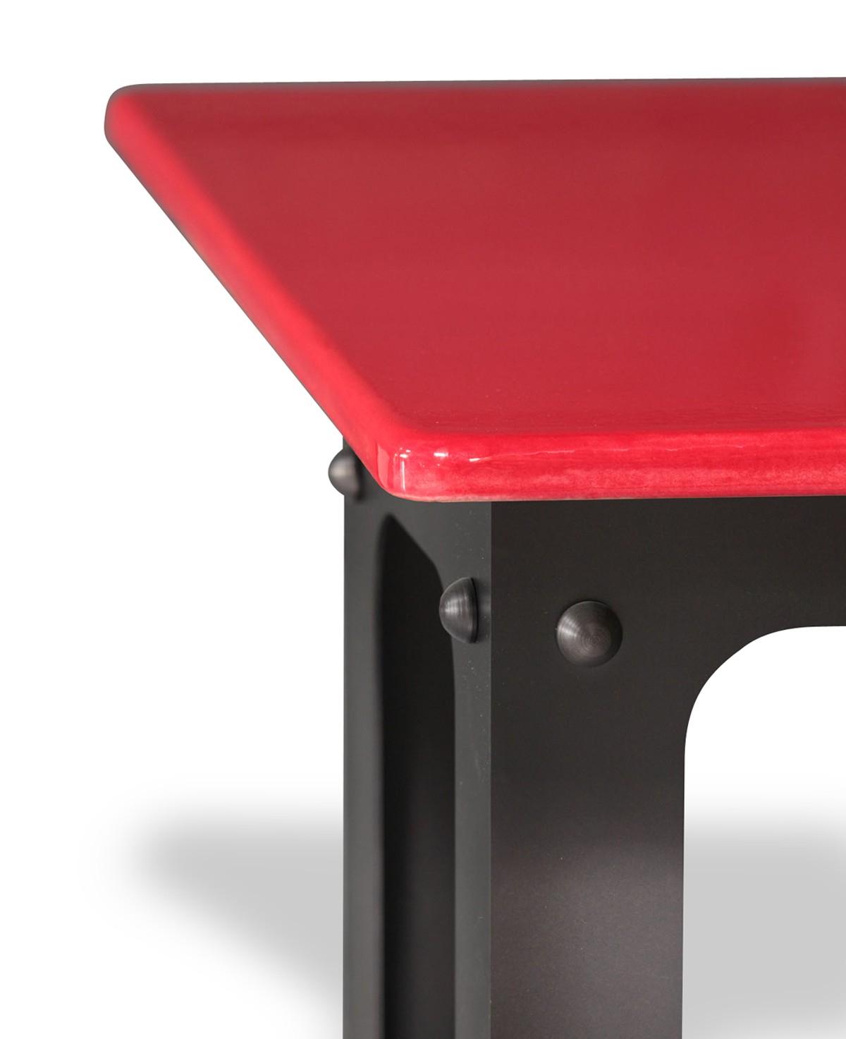 Table En Pierre De Lave Émaillée Pied Loft - 5 Coloris dedans Table De Jardin En Pierre De Lave