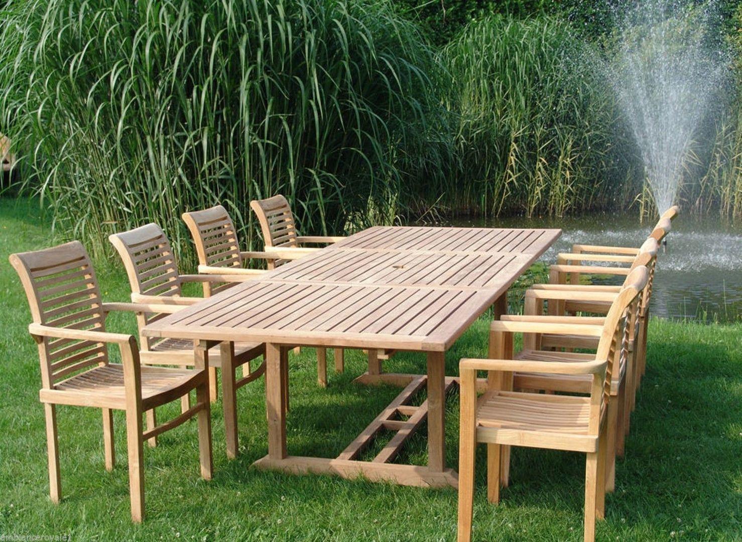 Table En Teck Naturel 200/300X120Cm Et 8 Fauteuils Bloc Au Choix intérieur Salon De Jardin Teck Pas Cher