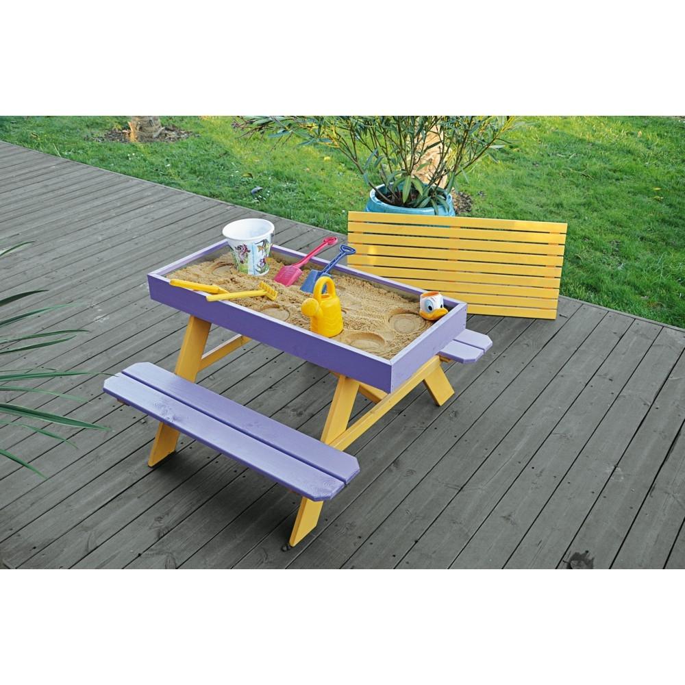 Table Enfant + Bac À Sable intérieur Mobilier De Jardin Enfant