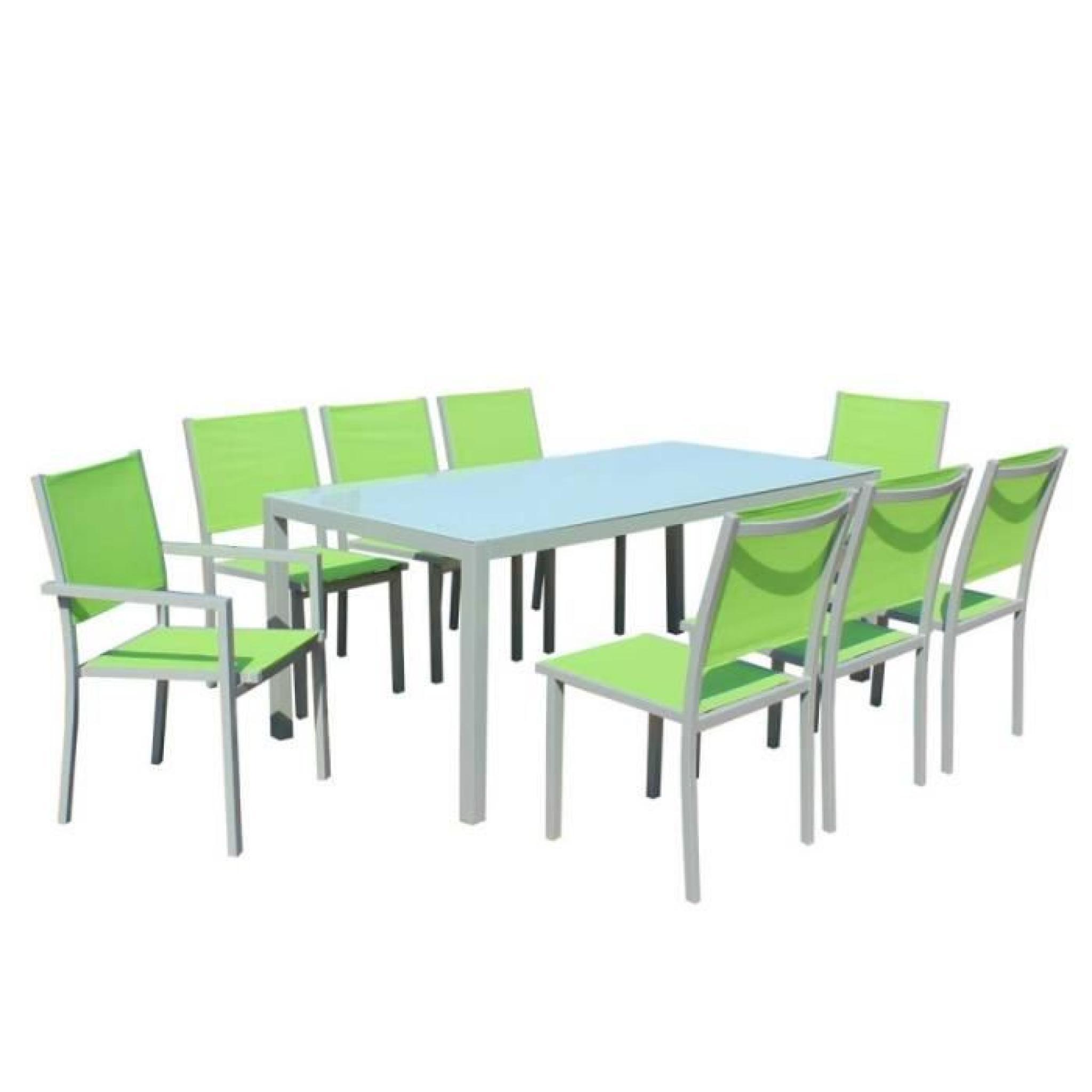 Table Et Chaises De Jardin - 8 Fauteuils Pliants - Aluminium Et Verre encequiconcerne Table Et Chaises De Jardin Pas Cher