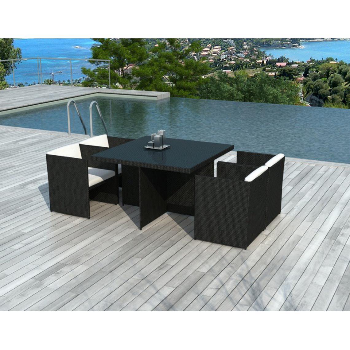 Table Et Chaises De Jardin Bicolores En Résine Tressée Alix intérieur Table Et Chaise De Jardin En Resine Tressee